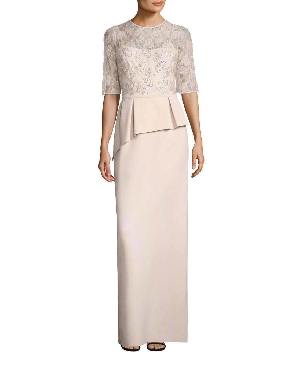 Teri Jon Blush Embellished Lace Asymmetric Peplum Evening Gown Dress ...