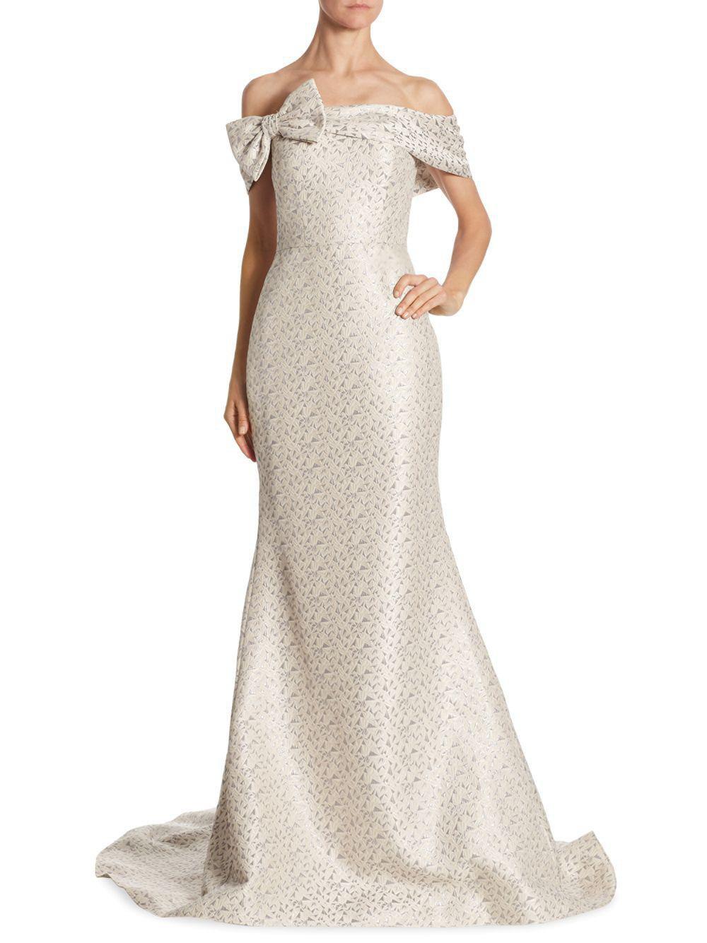 Teri Jon Bow Platinum Off Shoulder Evening Gown Dress 12 ...