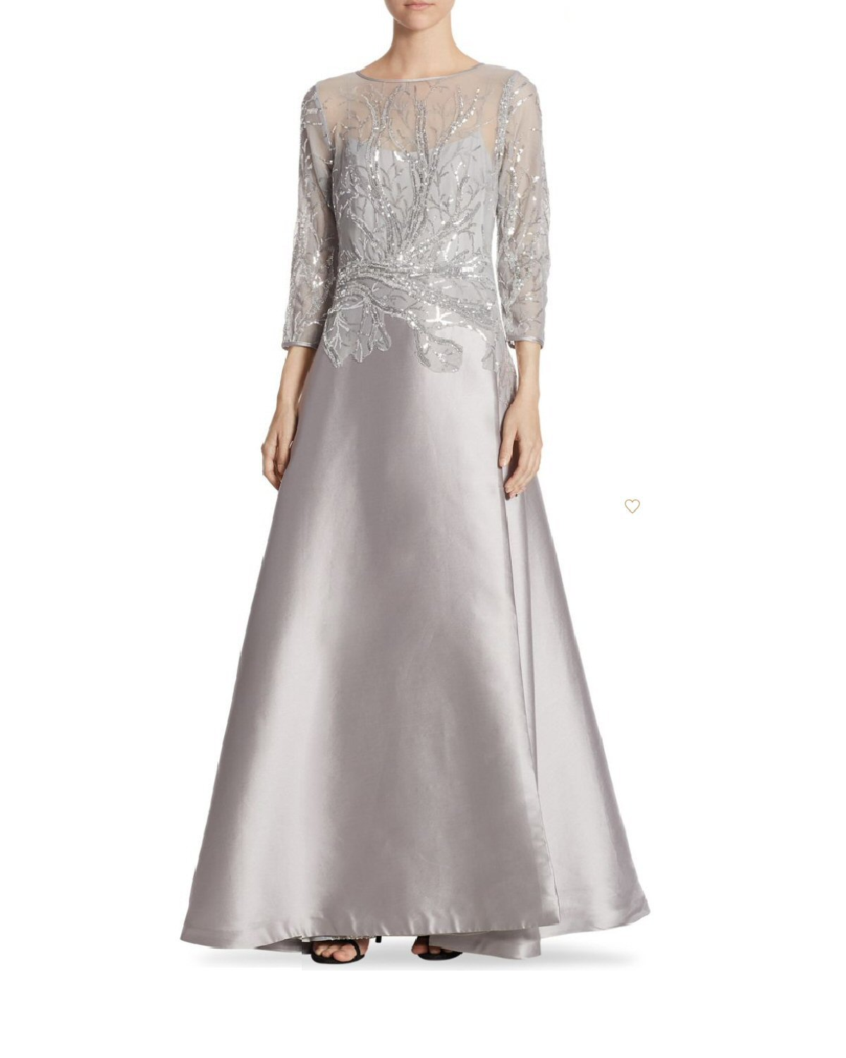 Details about Teri Jon Sequined Top 3 4 Sleeve Evening Gown Dress Silver 8 dc742e337