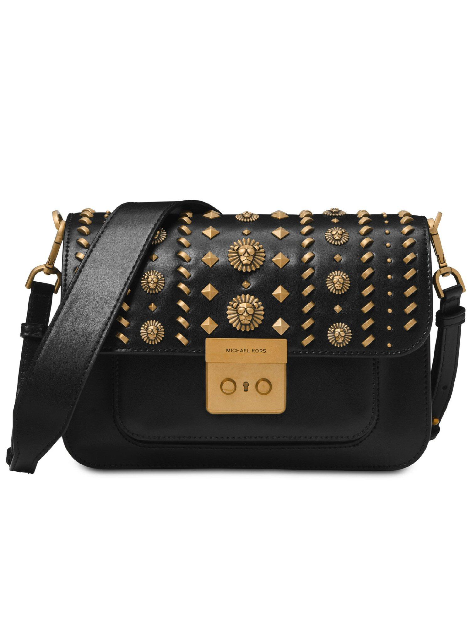 e04501753782 MICHAEL Michael Kors Sloan Editor Leather Studded Shoulder Bag Black ...