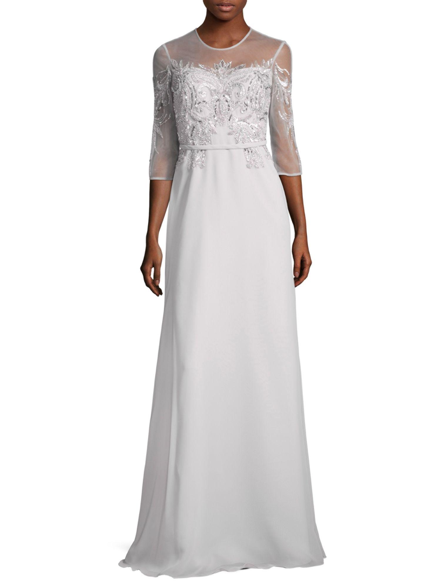 1e64e77245 Basix Black Label 3 4 Sleeve Beaded Illusion Evening Gown Dress Silver 6