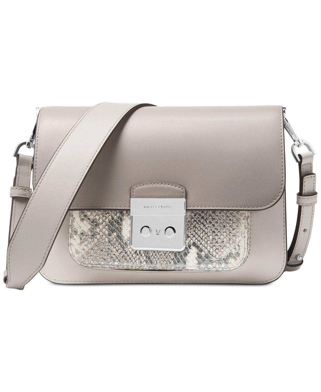 4e0e6bb7e0d4a MICHAEL Michael Kors Sloan Editor Small Leather Shoulder Bag Pewter Grey
