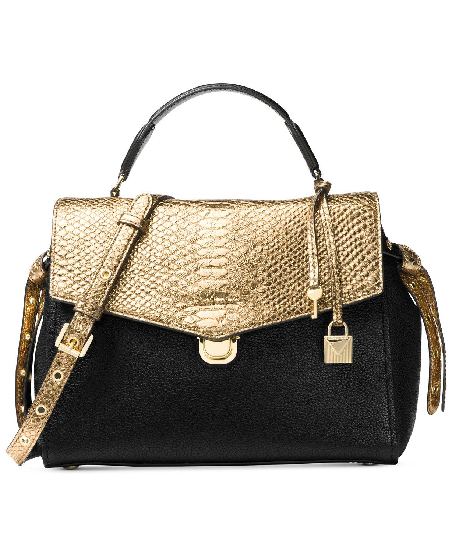 Michael Kors Bristol Medium Top Handle Satchel Leather Black Gold ... b617b81a2c714