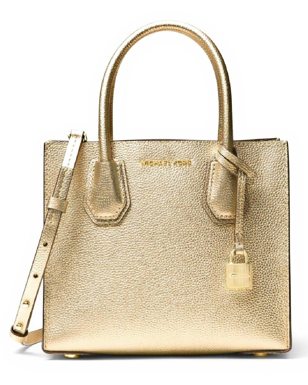 516e9f2532a8 MICHAEL Michael Kors Mercer Medium Bonded Leather Crossbody Bag Pale Gold