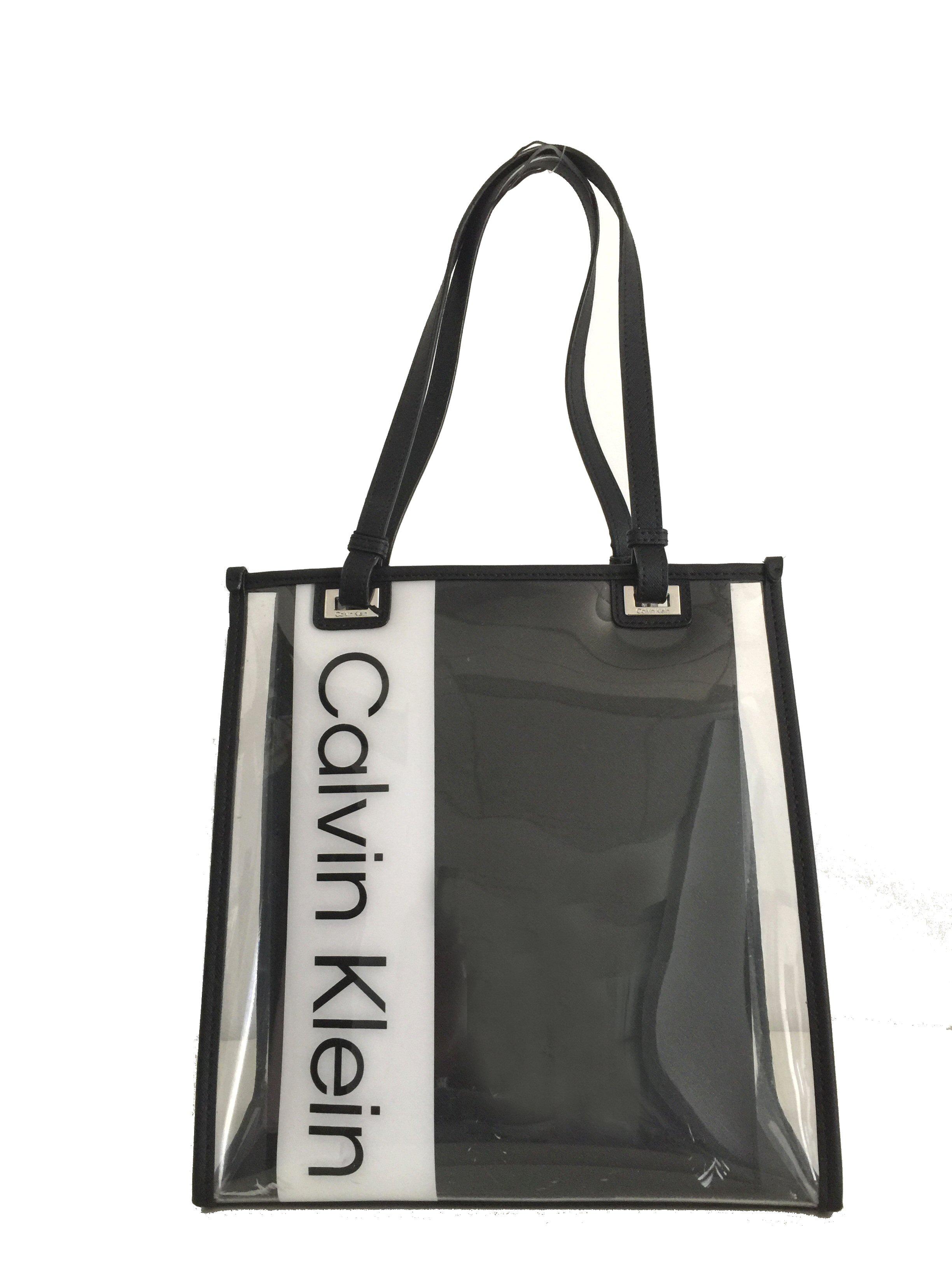 e1474552de Calvin Klein Franzy Logo Clear Small Tote Black 191797109646   eBay