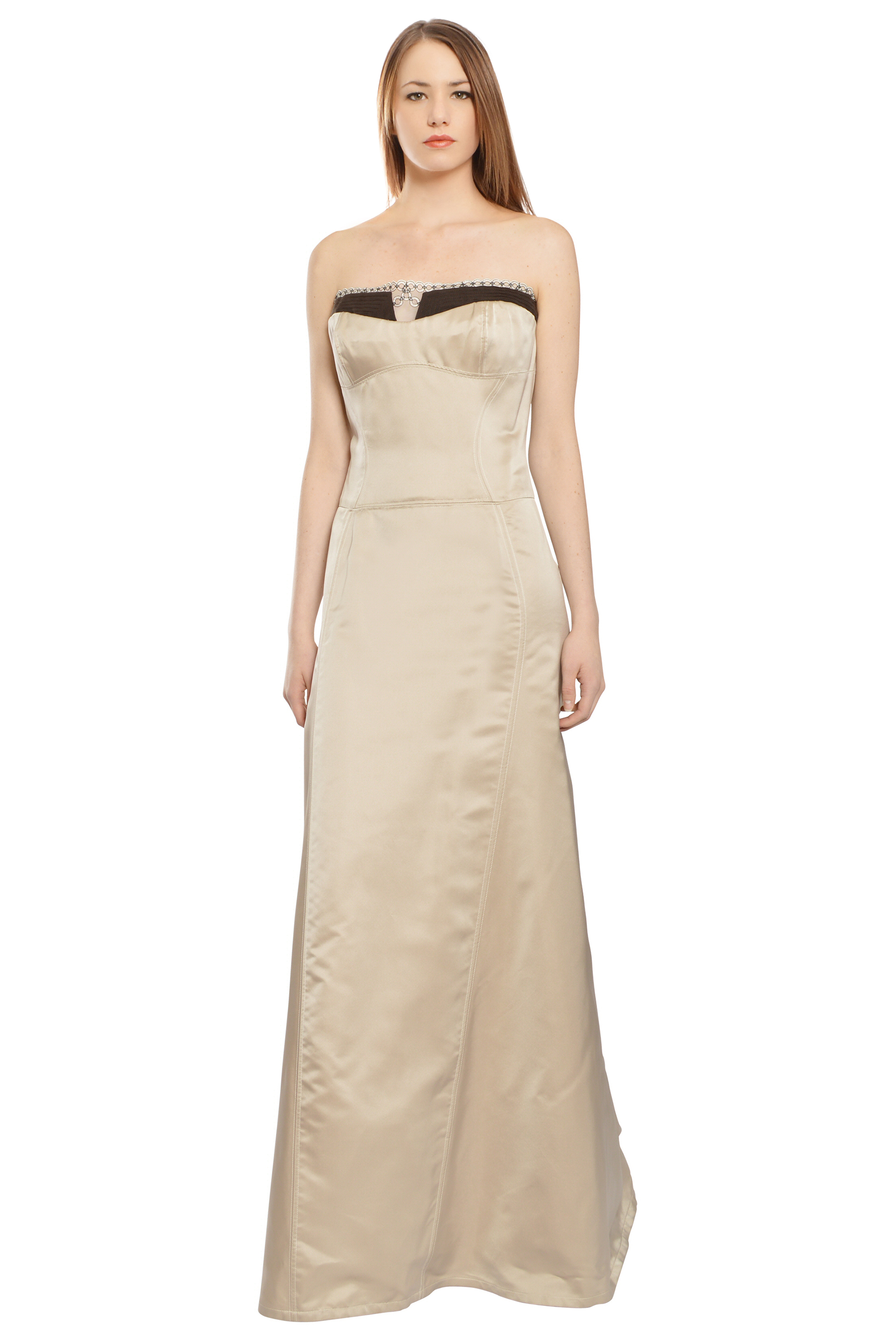 Carolina Herrera Taupe Embroidered Lace Strapless Evening Ball Gown ...