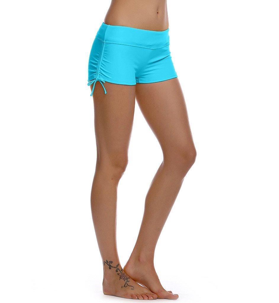 Womens Adjustable Drawstring Plain Swim Yoga Shorts Boy