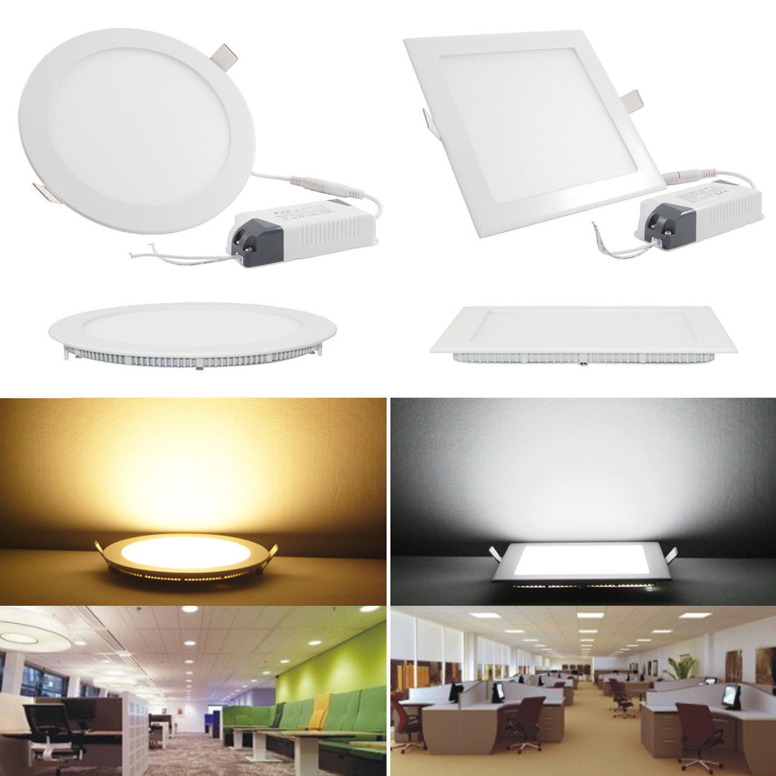 Flat Kitchen Ceiling Lights: 6W 12W 18W 24W LED Recessed Ceiling Flat Panel Down Light