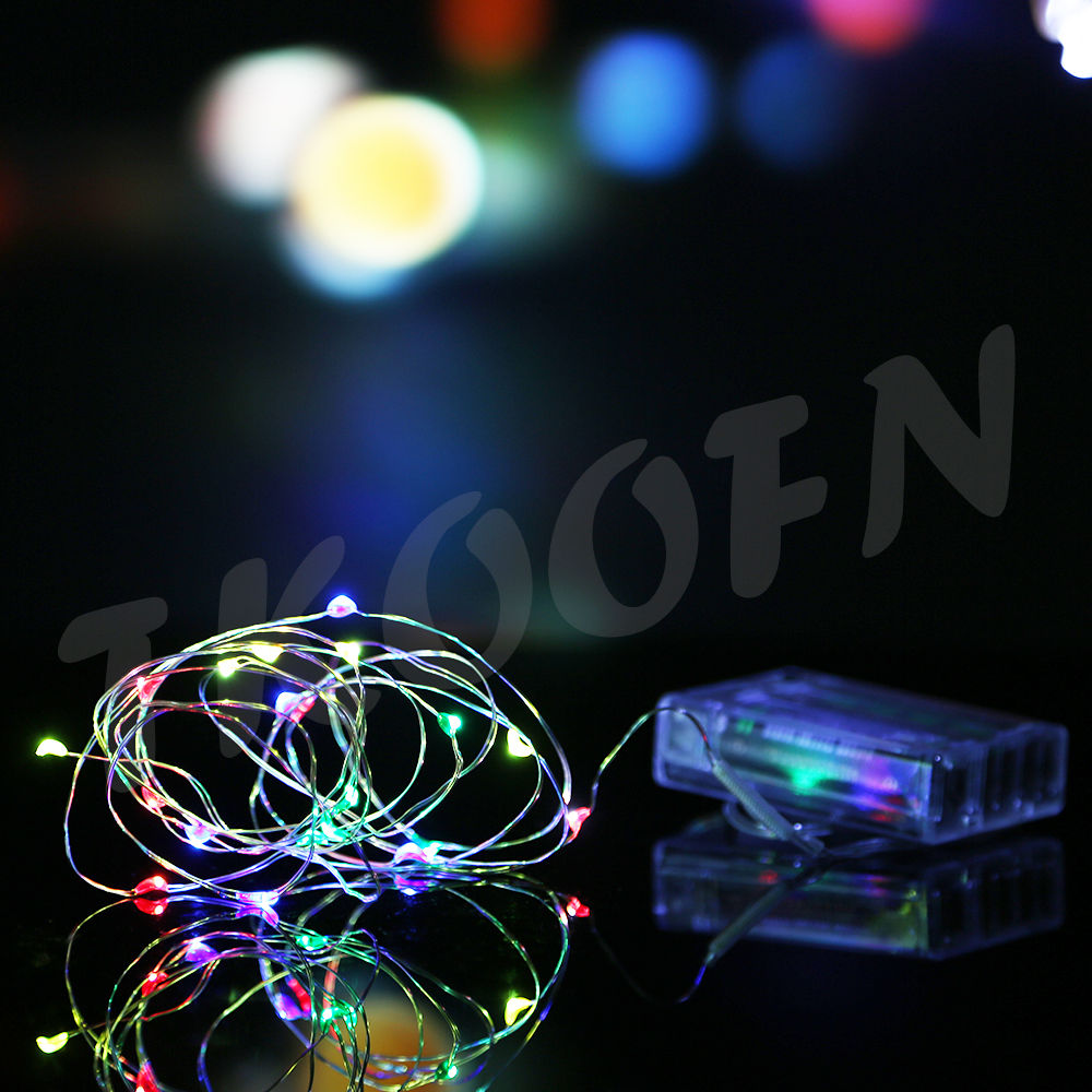 UK Battery Powered Warm White/Multi-colour Fairy String Micro Wire ...