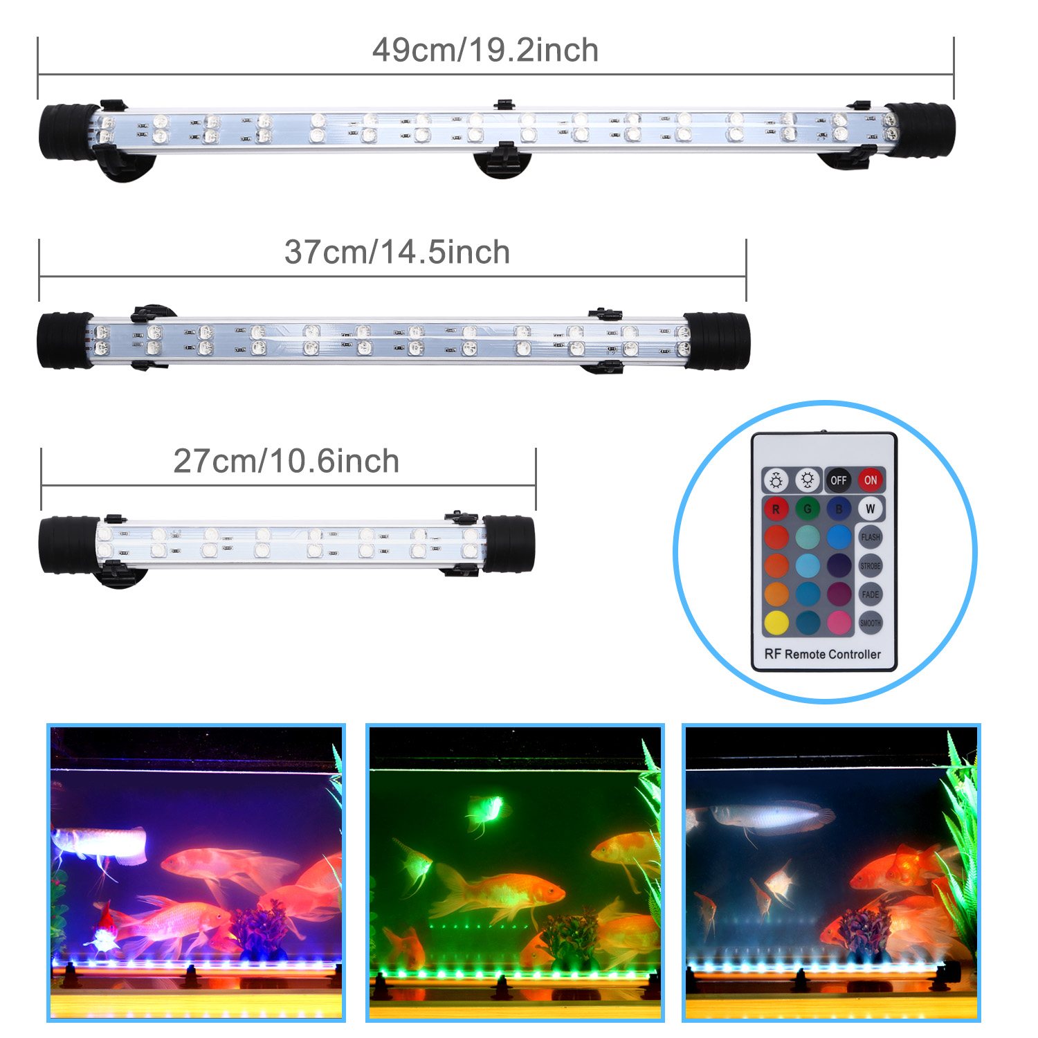 Submersible air bubble curtain rgb led light bar remote aquarium image is loading submersible air bubble curtain rgb led light bar mozeypictures Gallery