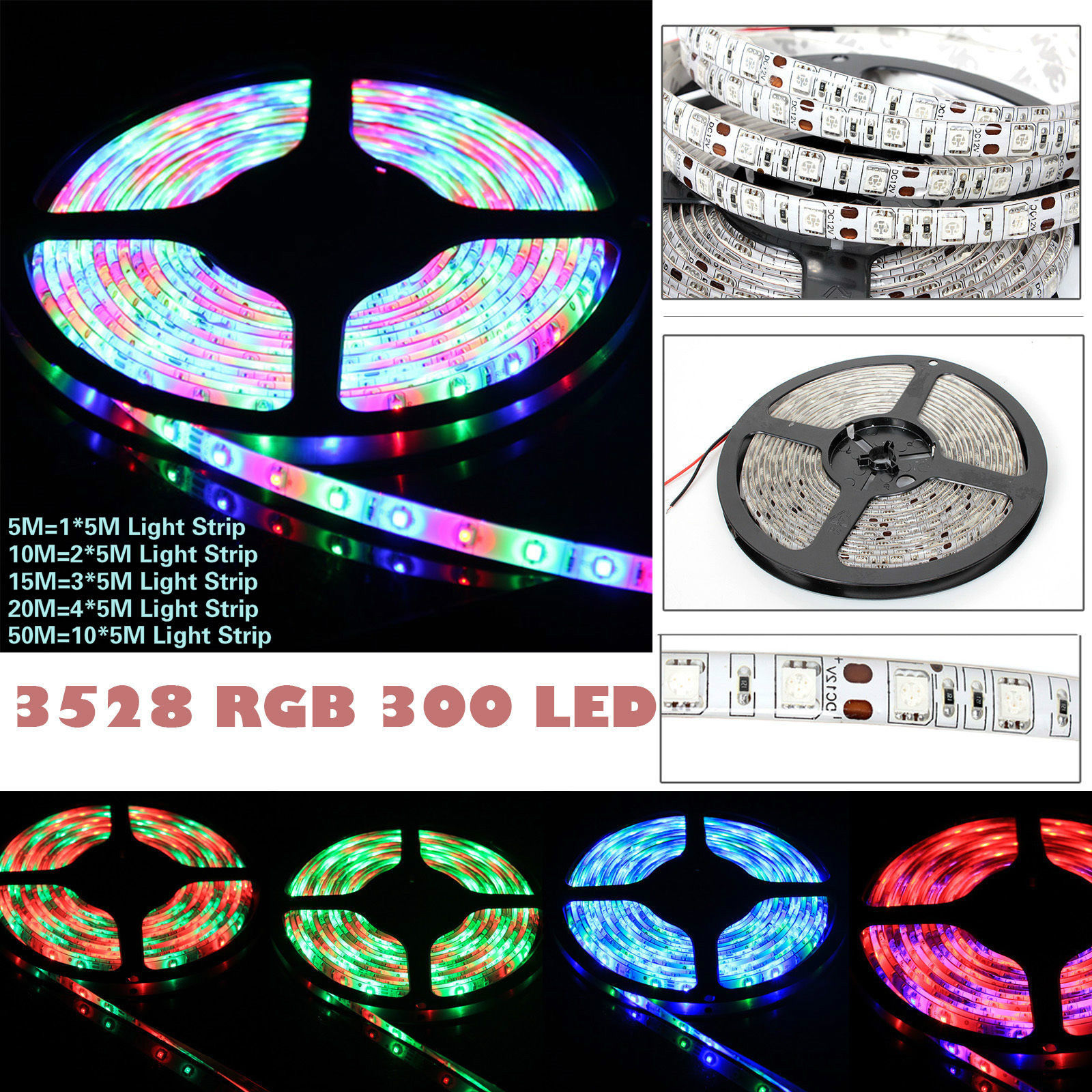 3528 rgb 5m 10m 15m 20m 50m led strip light tape 24key remote power supply ebay. Black Bedroom Furniture Sets. Home Design Ideas