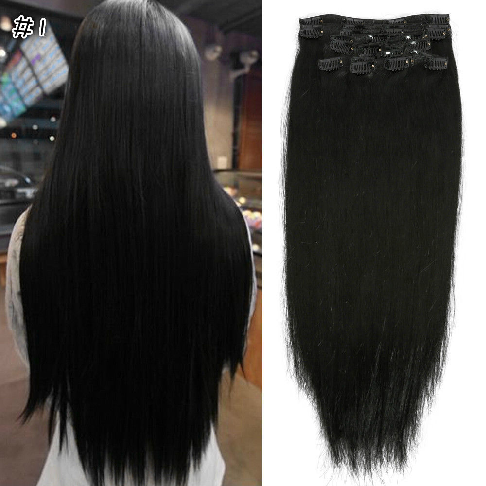 New 182024 full head clip in 100 remy human hair extensions new 18 034 20 034 24 034 full pmusecretfo Image collections
