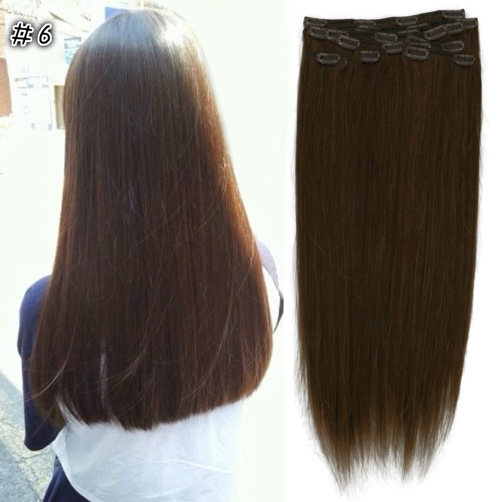 New 182024 full head clip in 100 remy human hair extensions new 18 034 20 034 24 034 full pmusecretfo Gallery