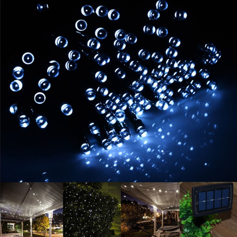 Outdoor Party Lights Solar: Fairy String Lights 20M 100 LED Solar Charging Christmas