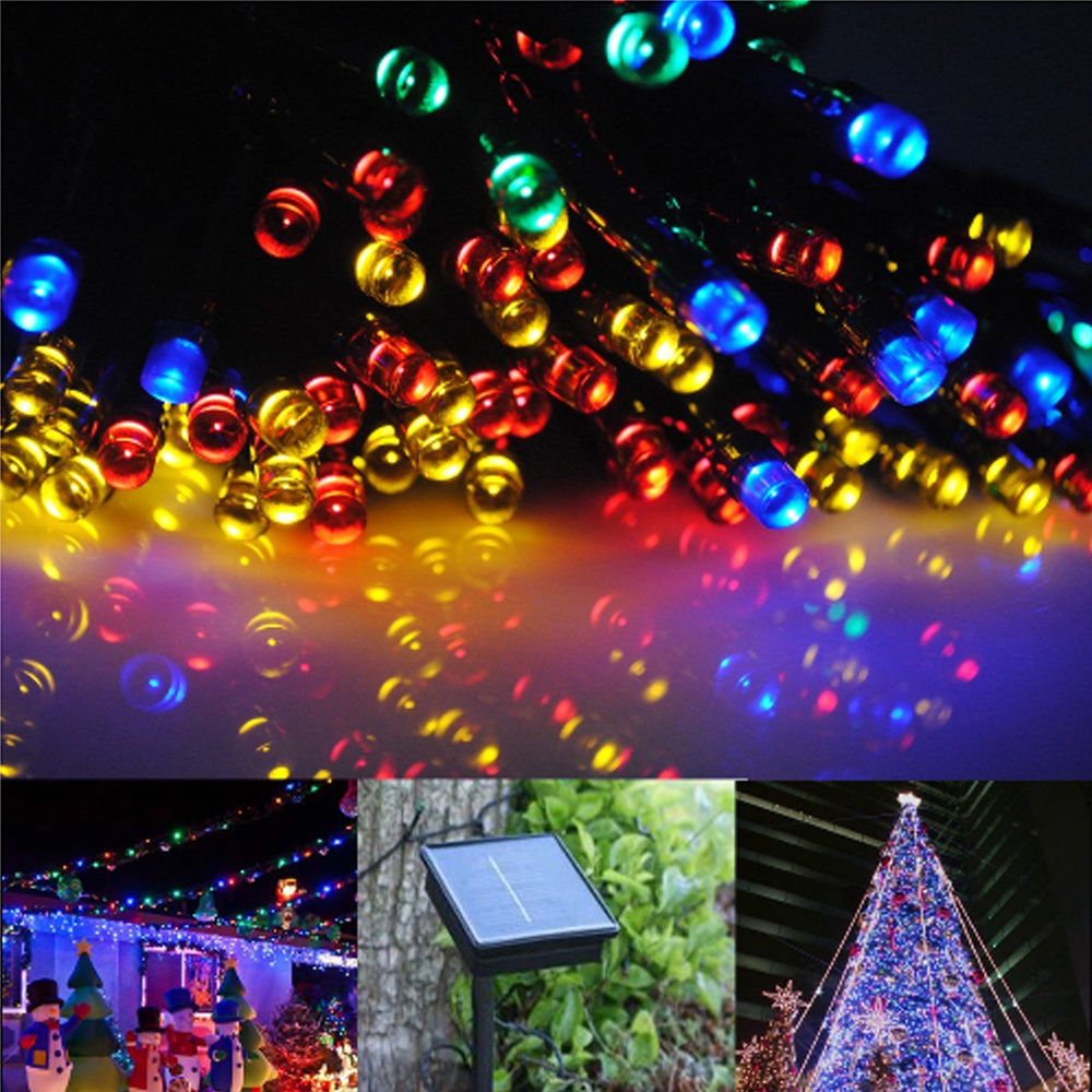 fairy string lights 20m 100 led solar charging christmas garden party outdoor ebay. Black Bedroom Furniture Sets. Home Design Ideas