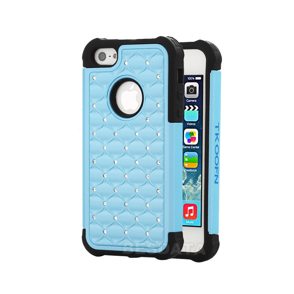 3d iphone 5s cases for iphone 5 5s 5c heavy duty soft hybrid 3d bling 13346