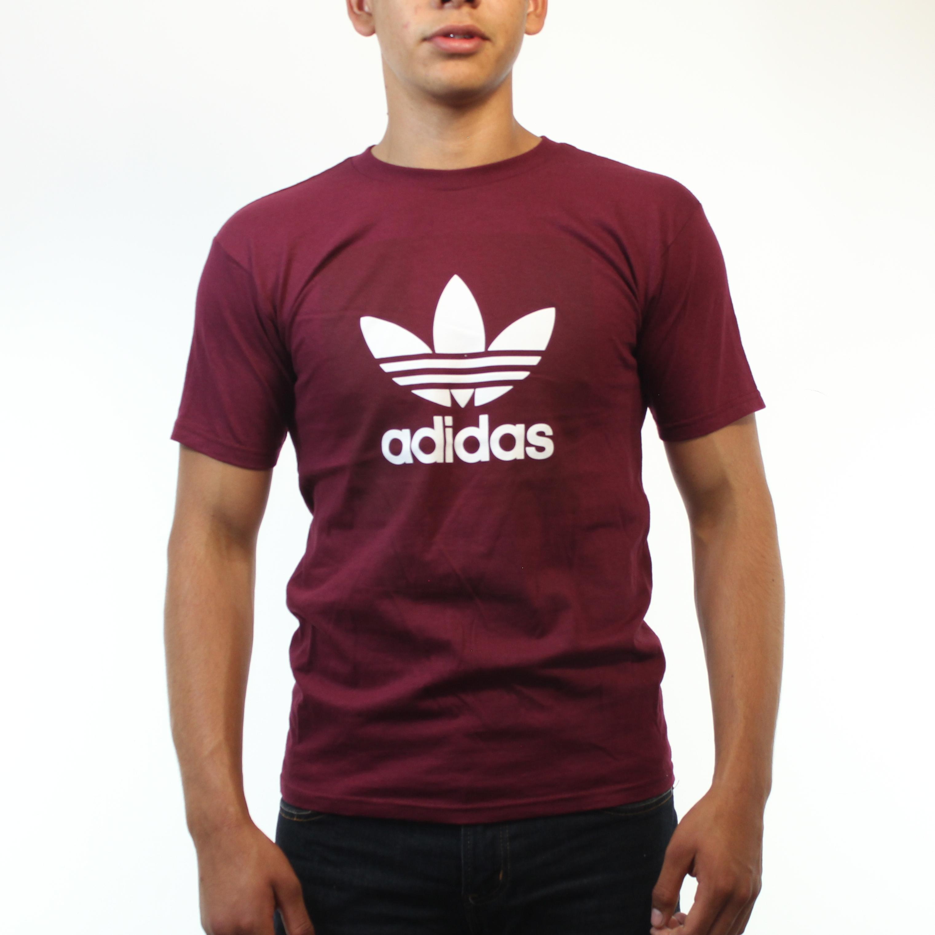 Adidas classic logo white color trefoil men 39 s burgundy t for Adidas classic t shirt