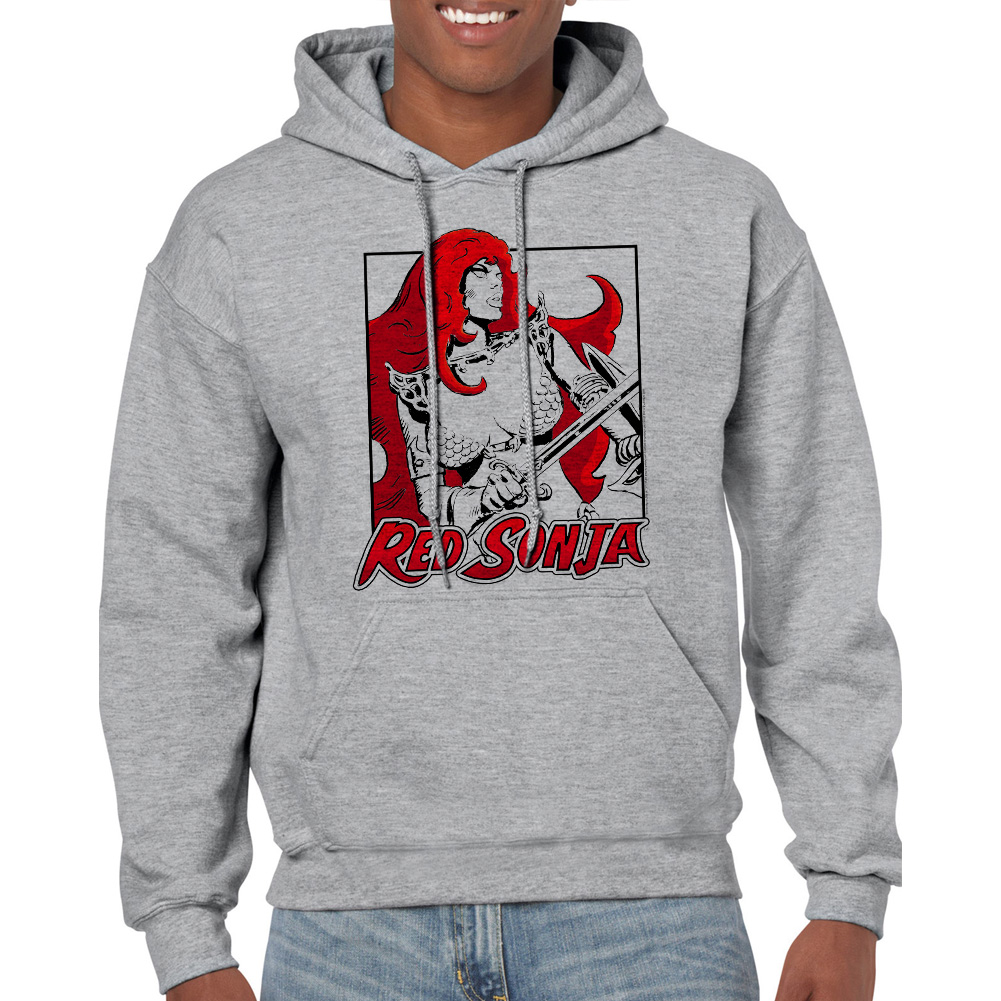Red Sonja Square Men's Sports Grey Hoodie