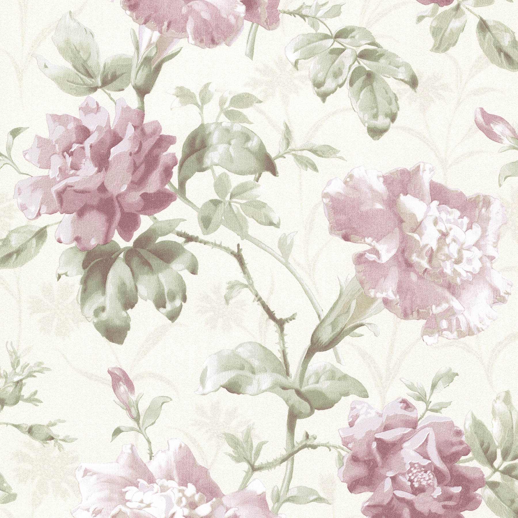 Beacon House By Brewster 2614 21002 Juliana Mauve Vintage Floral