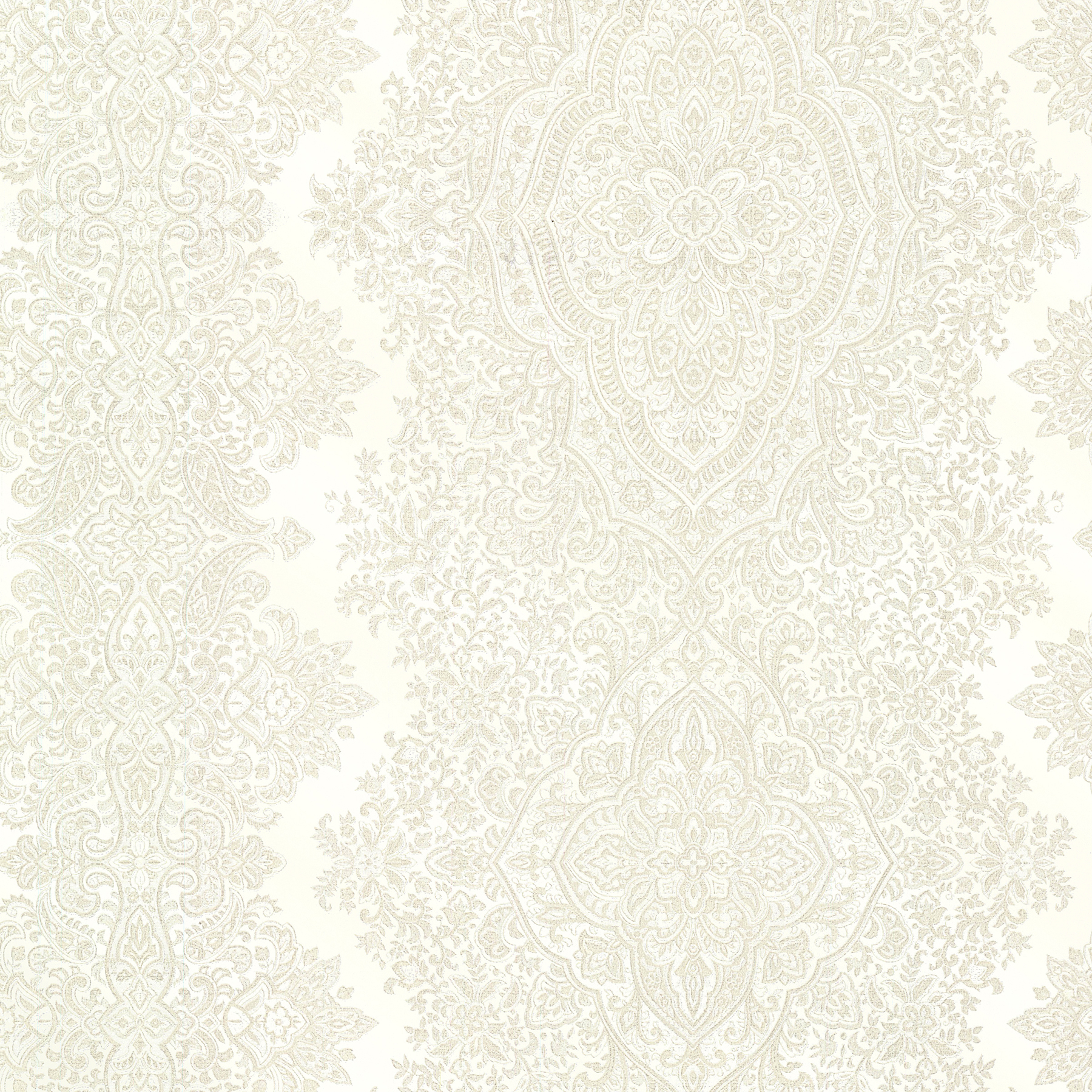 Brewster 2665-21431 Avalon Benedict Cream Ornate Paisley Stripe Wallpaper