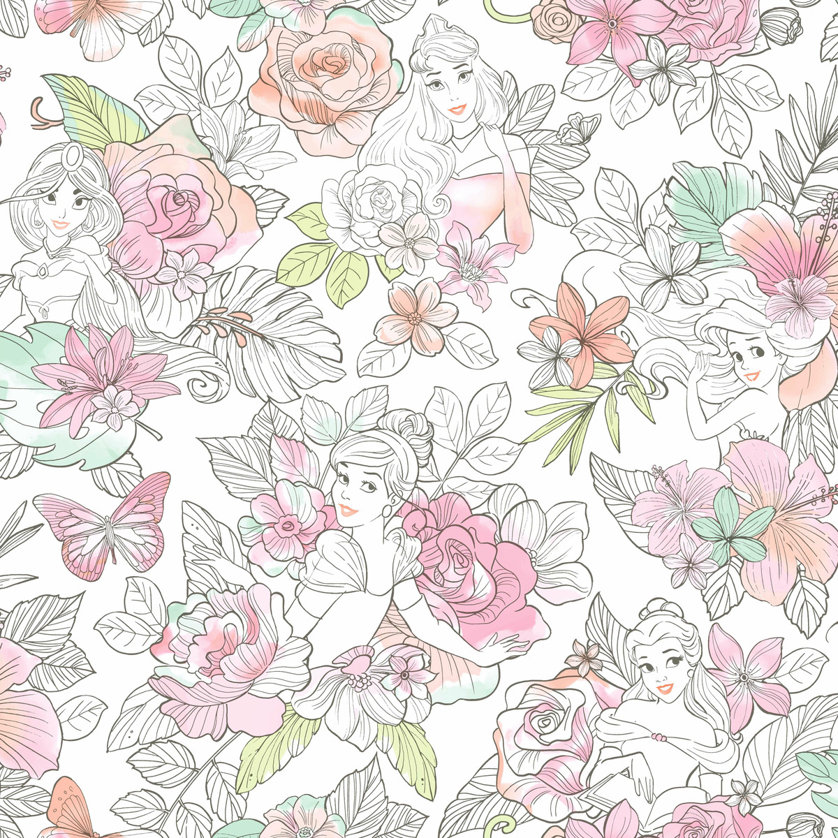 York Wallcoverings Di0966 Disney Princess Royal Floral Wallpaper