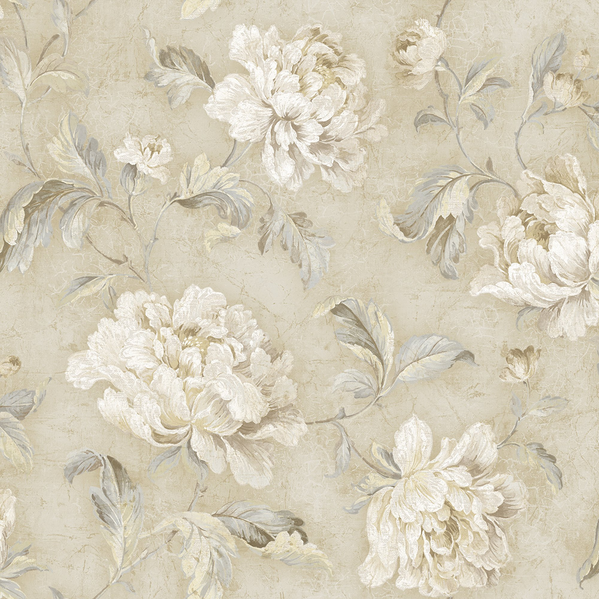 Vintage Floral Trail Wallpaper In Sand Mv81507 From Wallquest Ebay