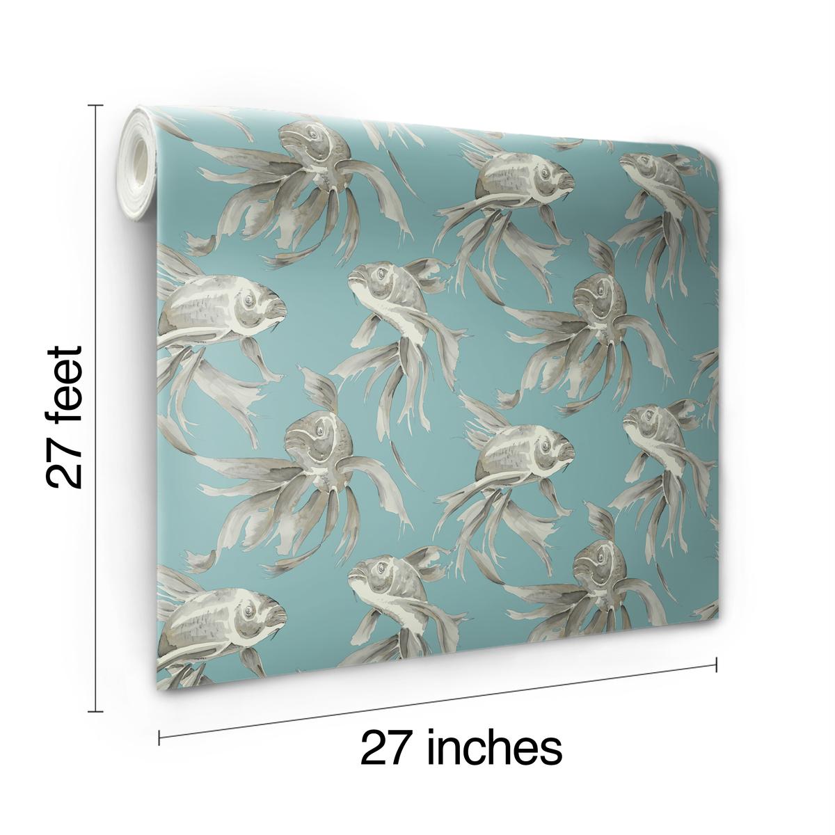 Candice Olson Blue Living Rooms: York SO2403 Candice Olson Tranquil Koi Wallpaper, Blue
