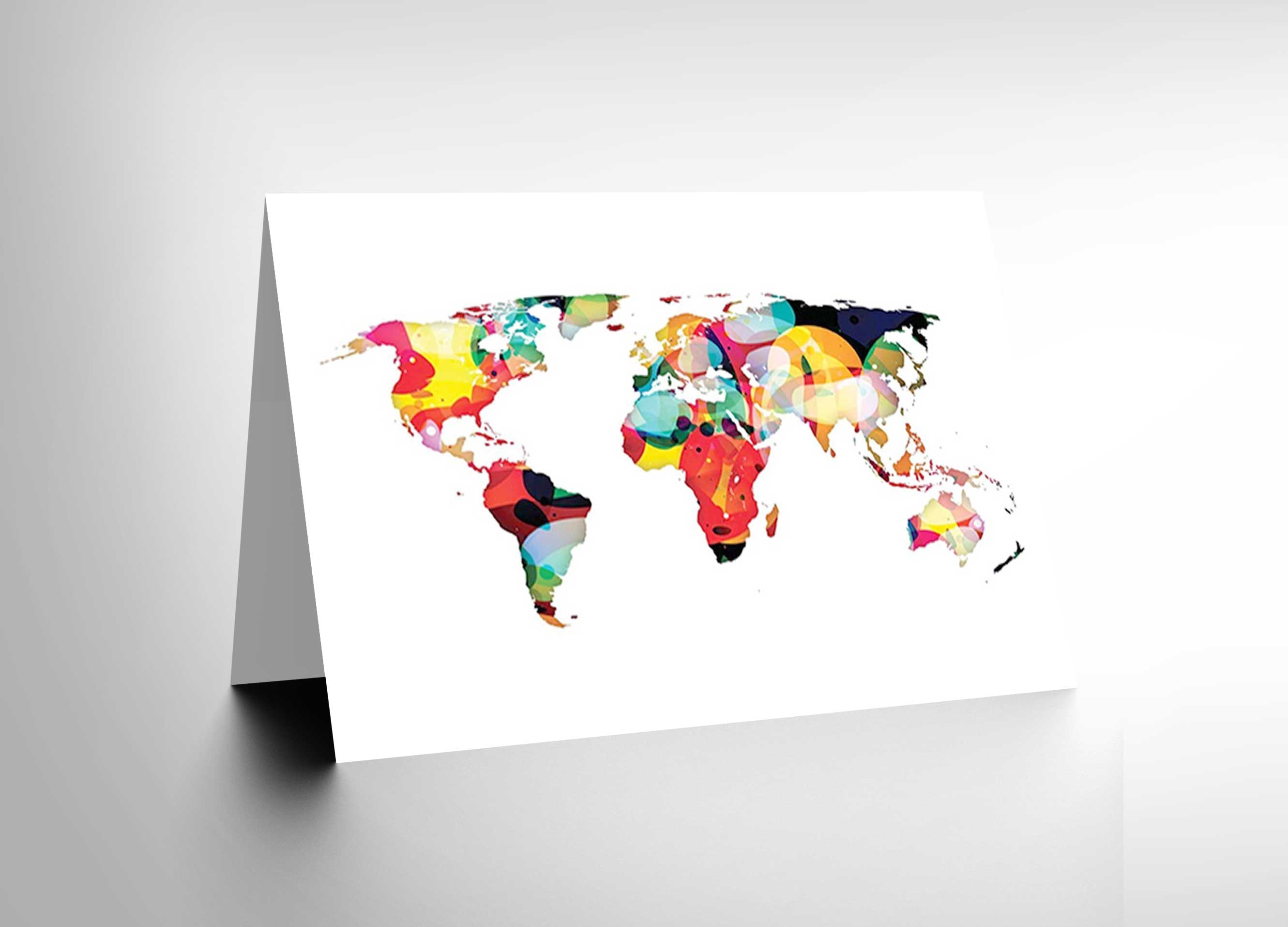Map Earth World Continents Colourful Abstract Blank Birthday Card