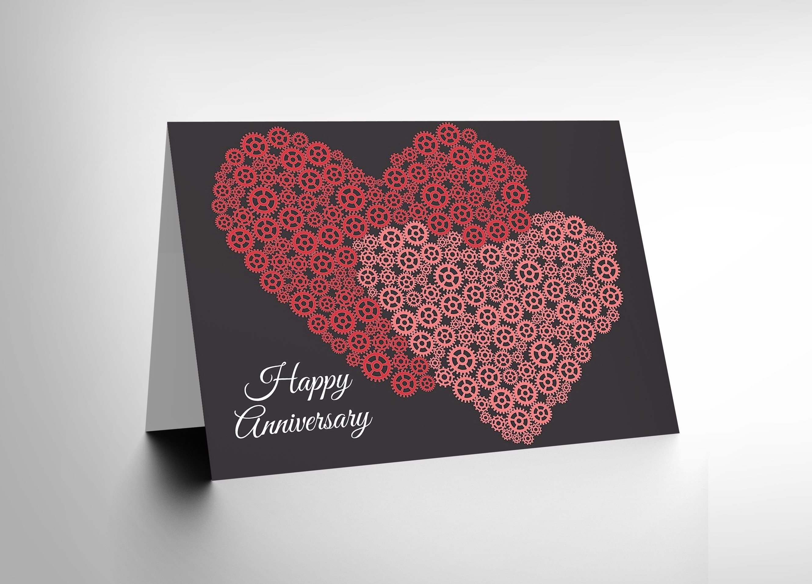 HAPPY ANNIVERSARY COGS GEARS HEARTS LOVE VALENTINES DAY