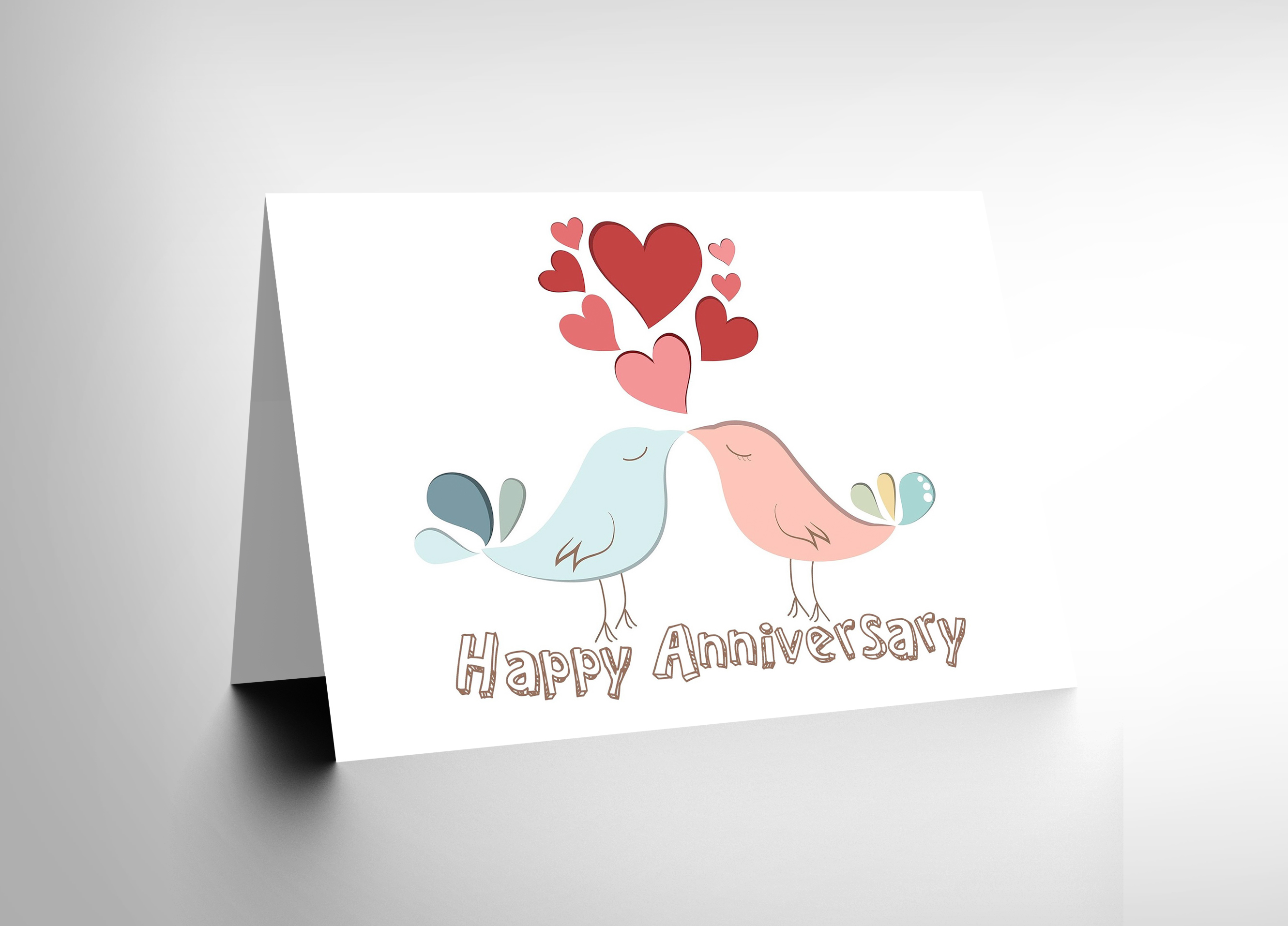 NEW HAPPY ANNIVERSARY VALENTINES LOVE BIRDS COUPLE BLANK
