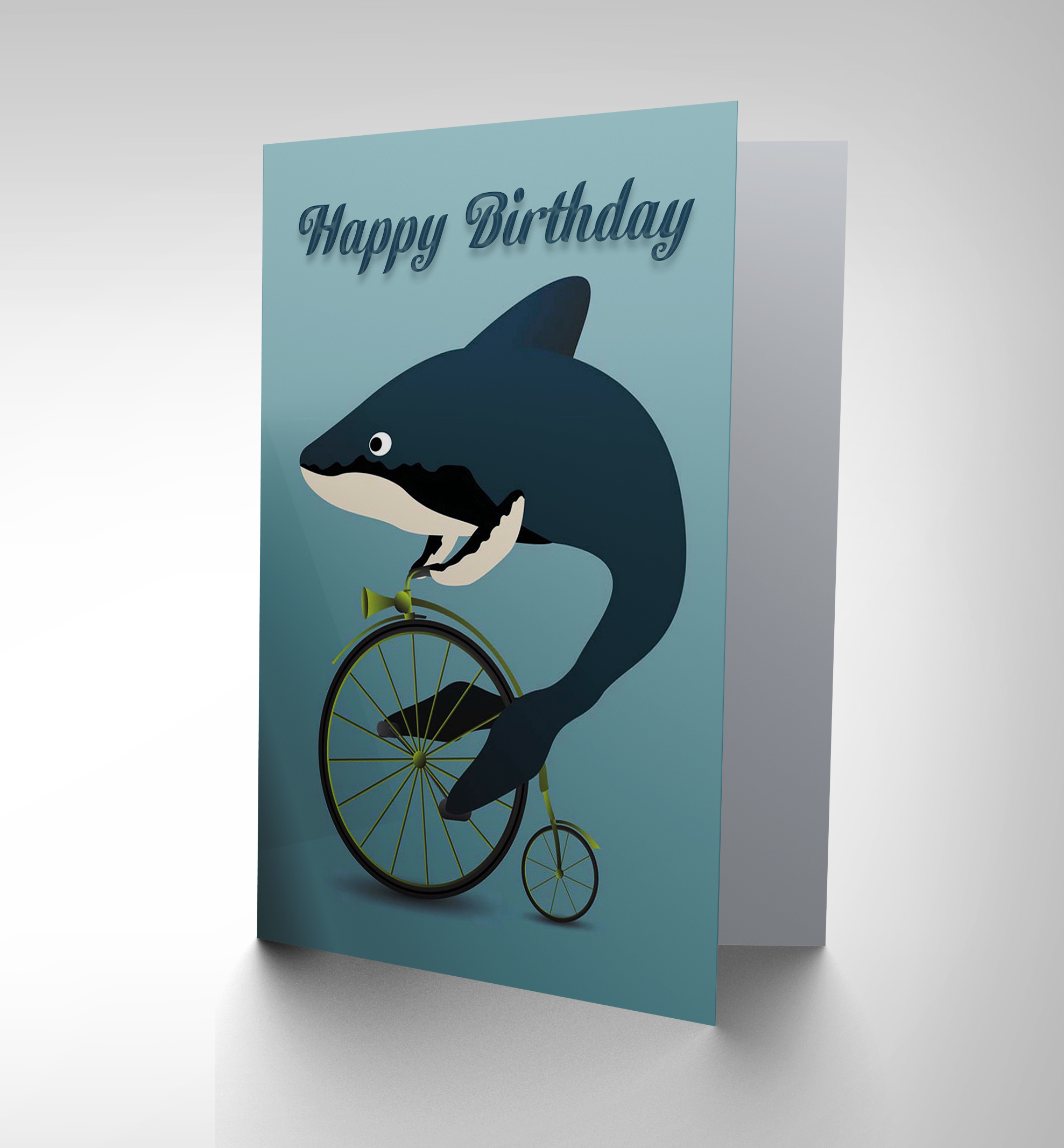 HAPPY BIRTHDAY WHALE SHARK BICYCLE PENNY FARTHING ABSURD