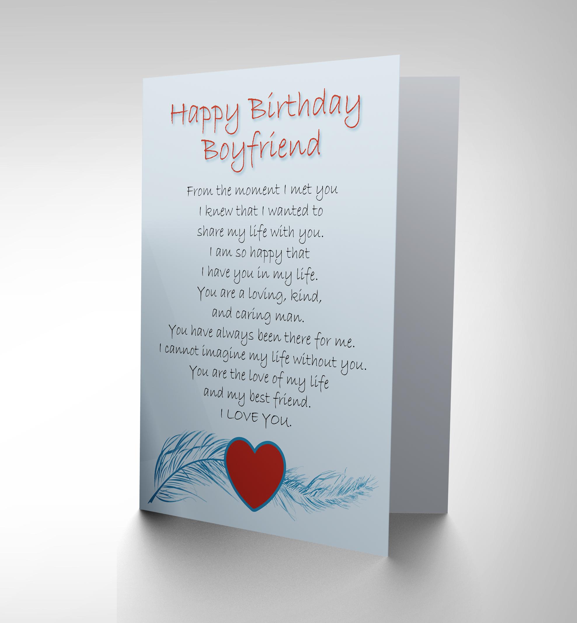 BIRTHDAY BOYFRIEND LOVE POEM NEW ART GREETINGS GIFT CARD