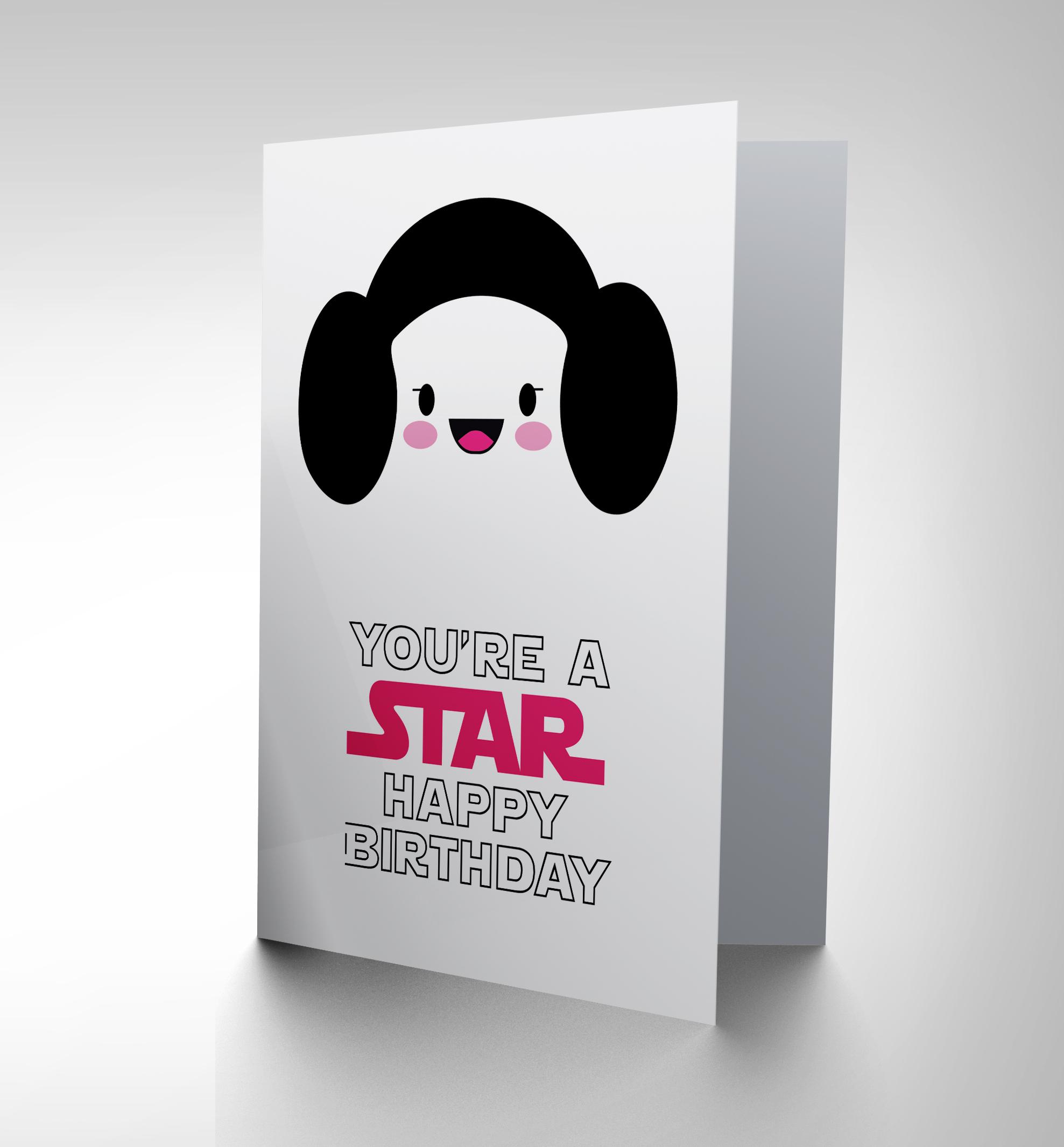 CARD BIRTHDAY HAPPY PRINCESS LEIA CARTOON STAR DESIGN GIFT CP2723