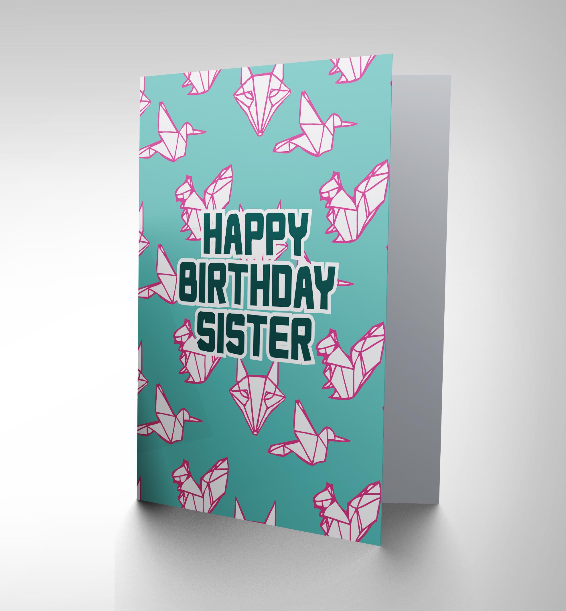 CARD BIRTHDAY HAPPY SISTER ORIGAMI ANIMAL DESIGN GIFT CP2729 - photo#26