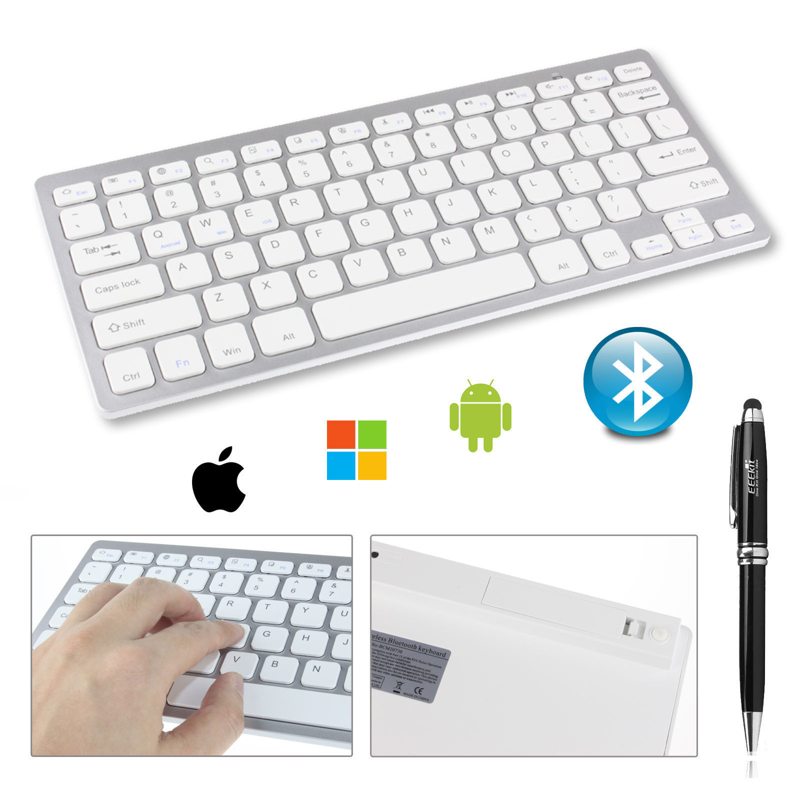 7 Color Backlit Ultra Slim Bluetooth.0 Keyboard for