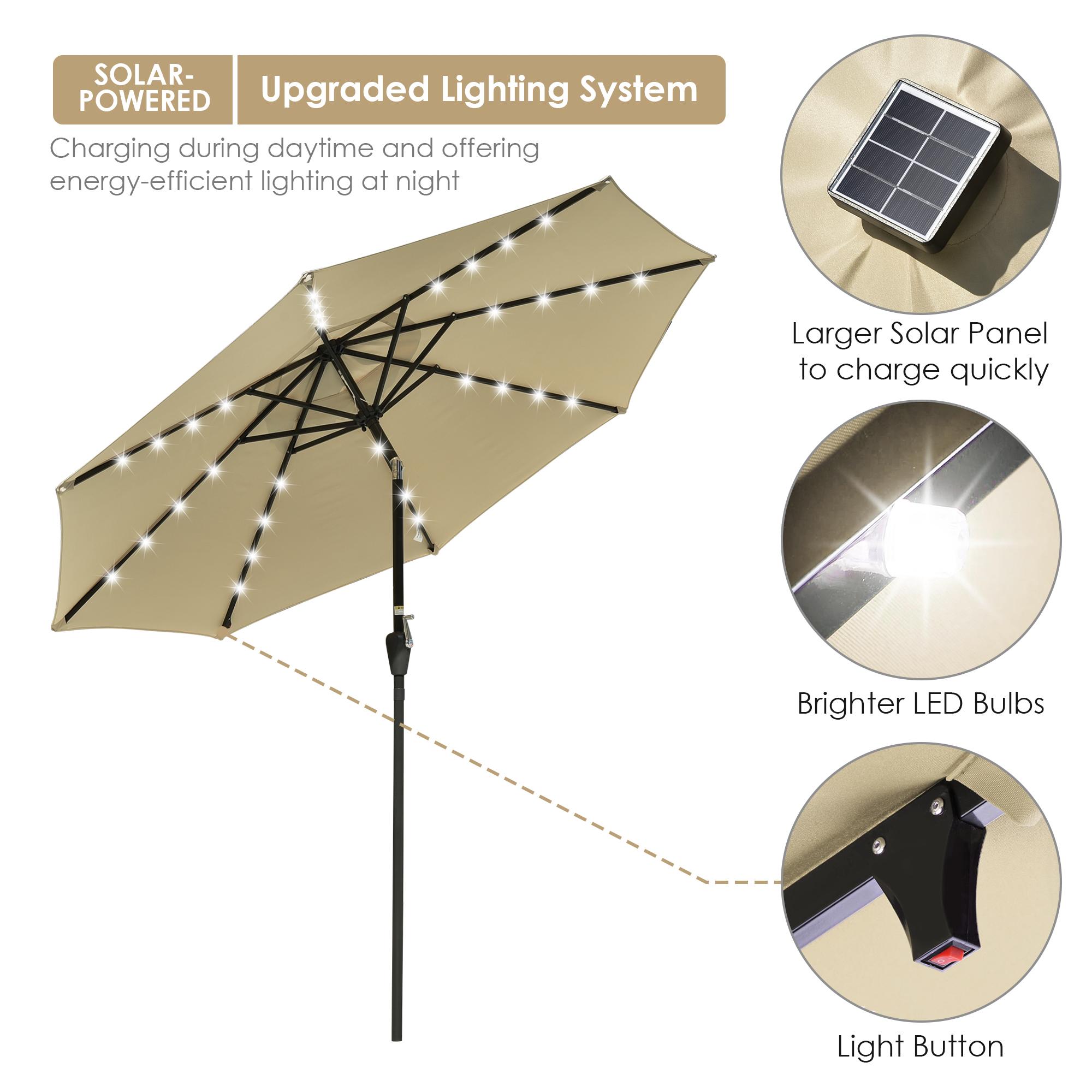 thumbnail 23 - 9' Patio Outdoor Umbrella Solar LED 8 Rib Garden Parasol Yard Deck Table Shade