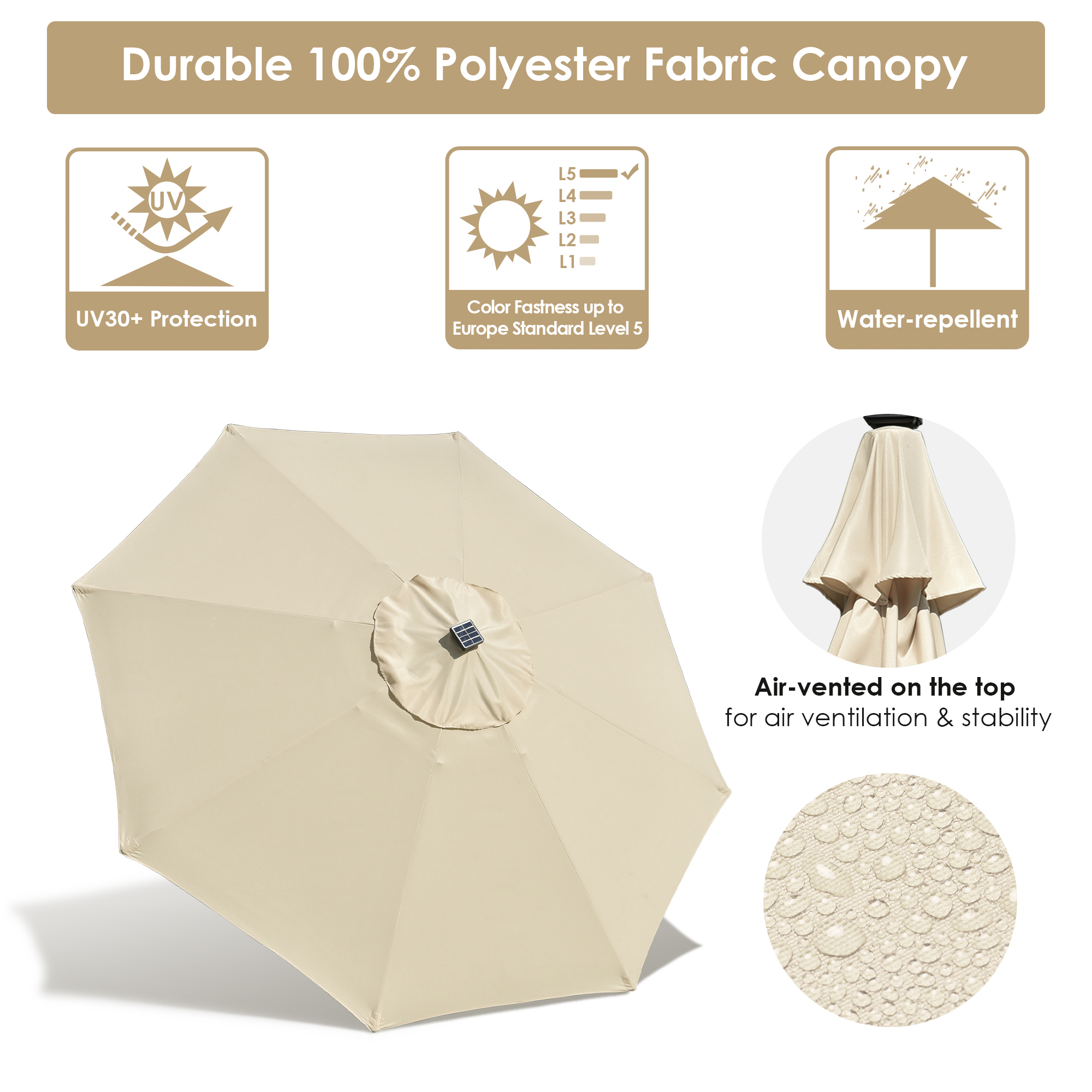 thumbnail 24 - 9' Patio Outdoor Umbrella Solar LED 8 Rib Garden Parasol Yard Deck Table Shade
