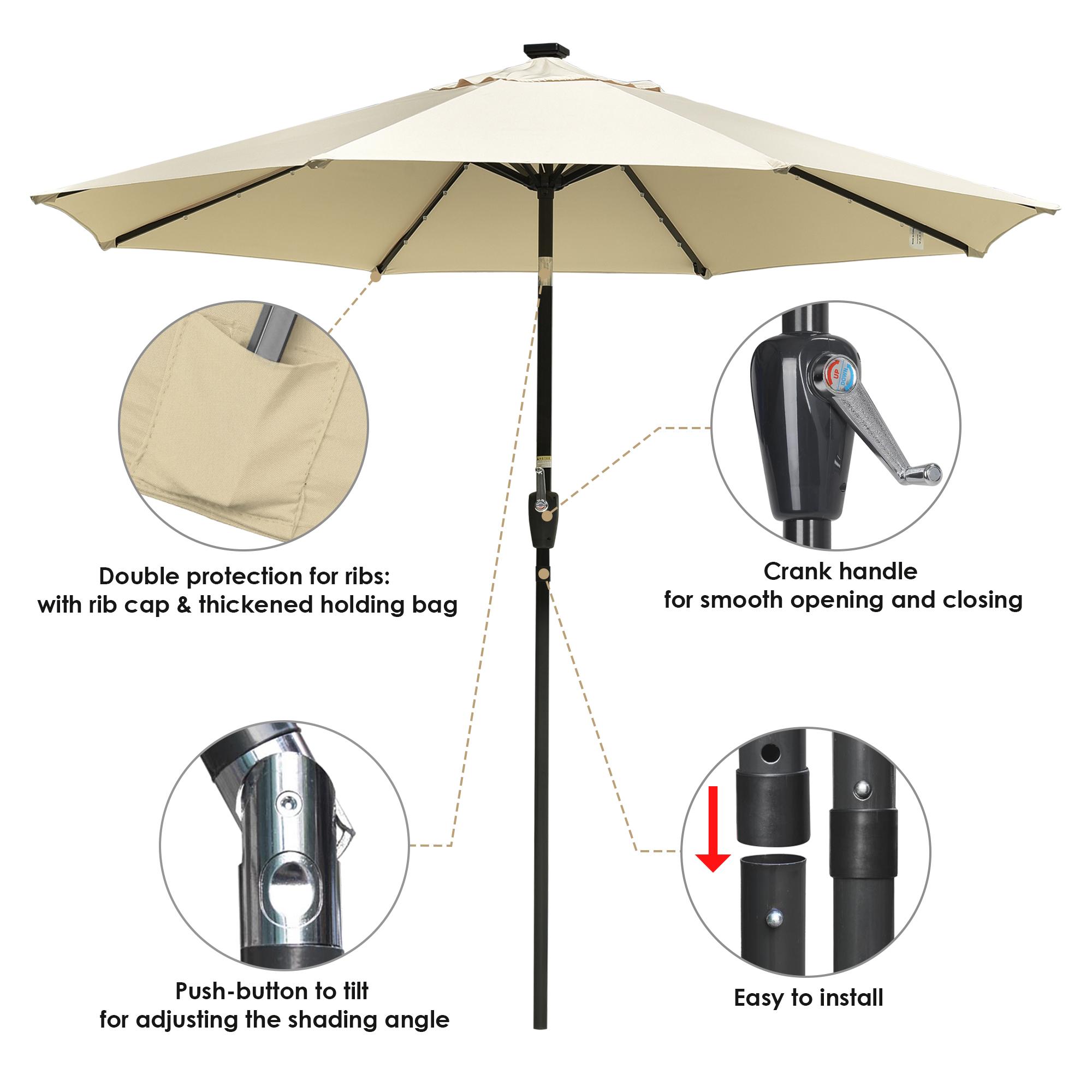 thumbnail 25 - 9' Patio Outdoor Umbrella Solar LED 8 Rib Garden Parasol Yard Deck Table Shade