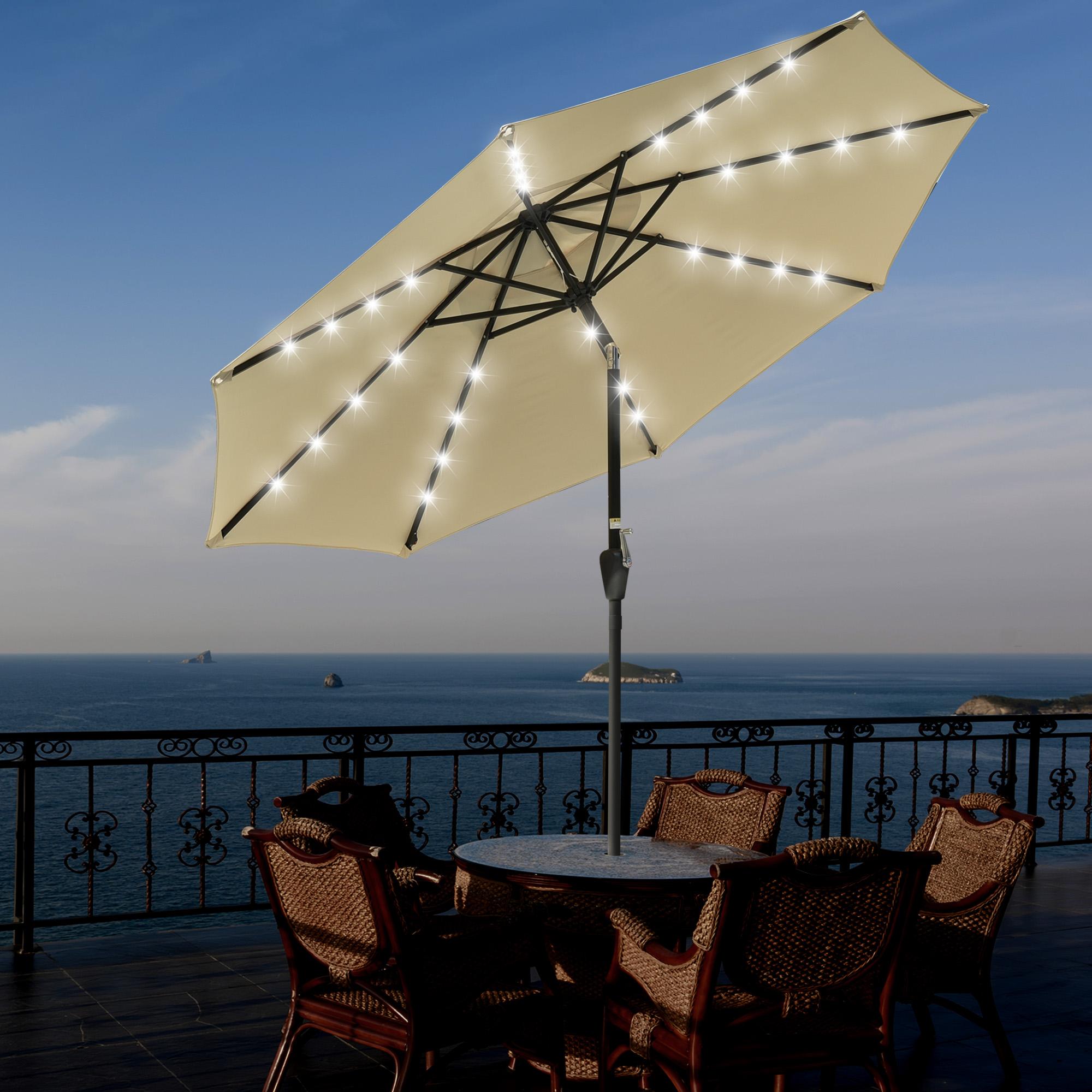 thumbnail 29 - 9' Patio Outdoor Umbrella Solar LED 8 Rib Garden Parasol Yard Deck Table Shade