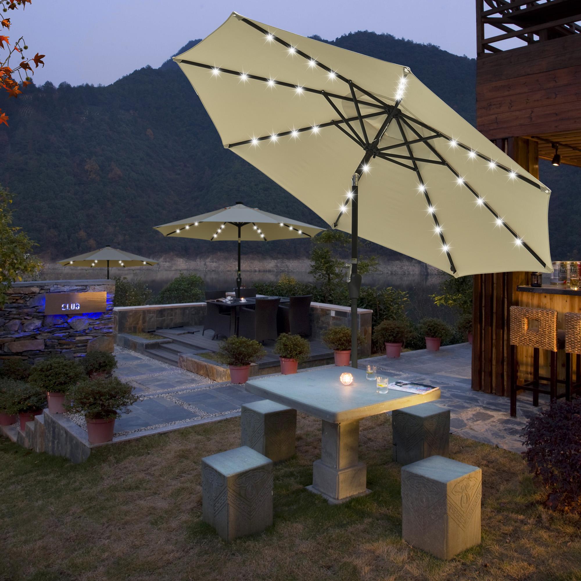 thumbnail 27 - 9' Patio Outdoor Umbrella Solar LED 8 Rib Garden Parasol Yard Deck Table Shade