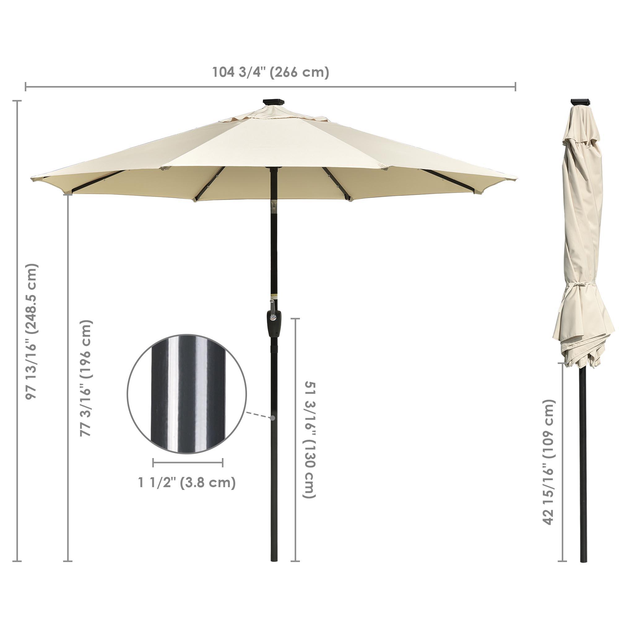 thumbnail 30 - 9' Patio Outdoor Umbrella Solar LED 8 Rib Garden Parasol Yard Deck Table Shade