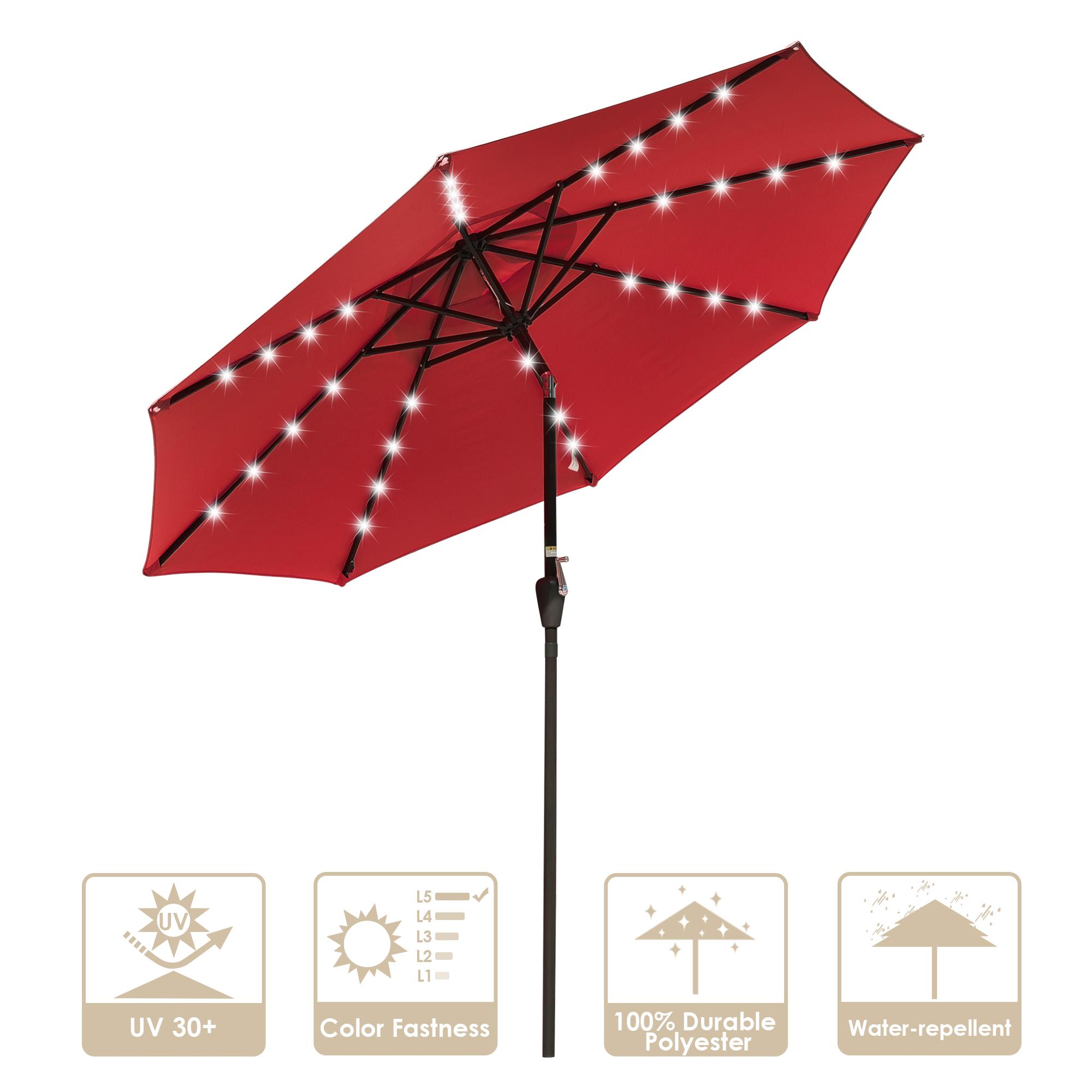 thumbnail 55 - 9' Patio Outdoor Umbrella Solar LED 8 Rib Garden Parasol Yard Deck Table Shade