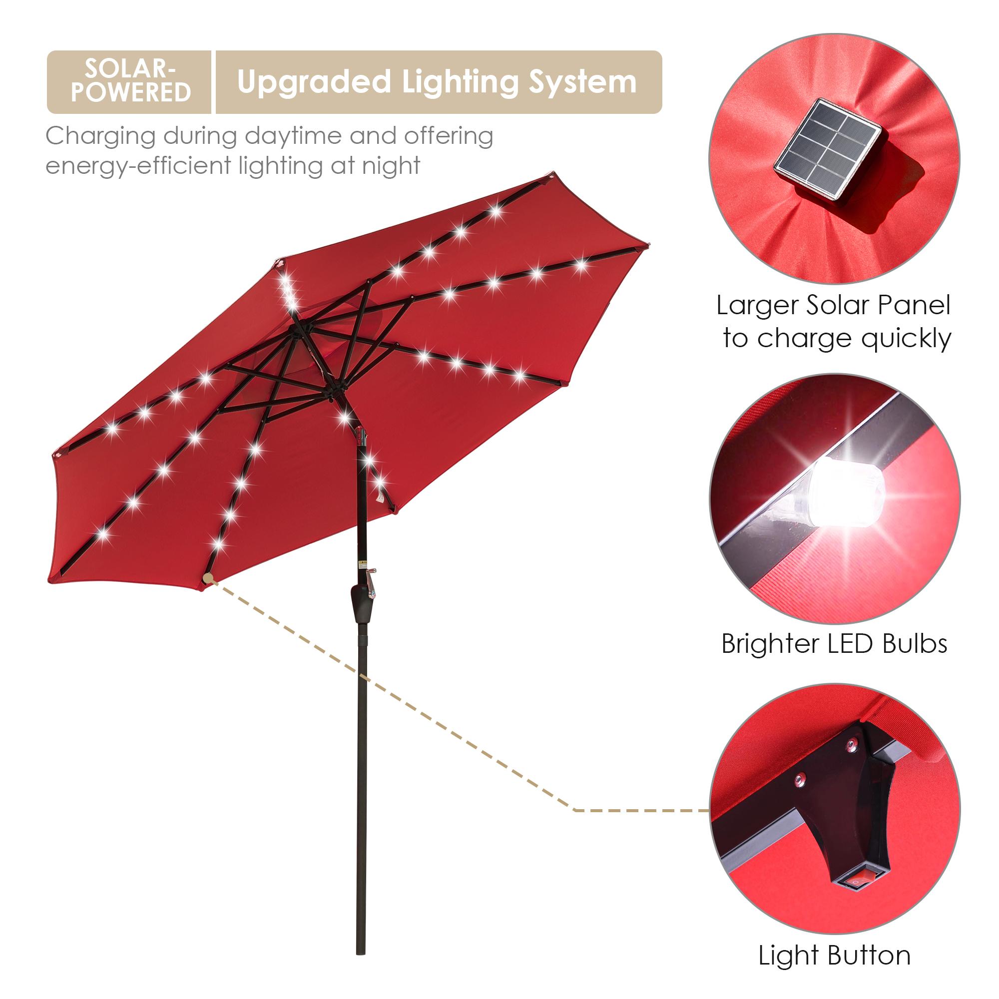 thumbnail 56 - 9' Patio Outdoor Umbrella Solar LED 8 Rib Garden Parasol Yard Deck Table Shade