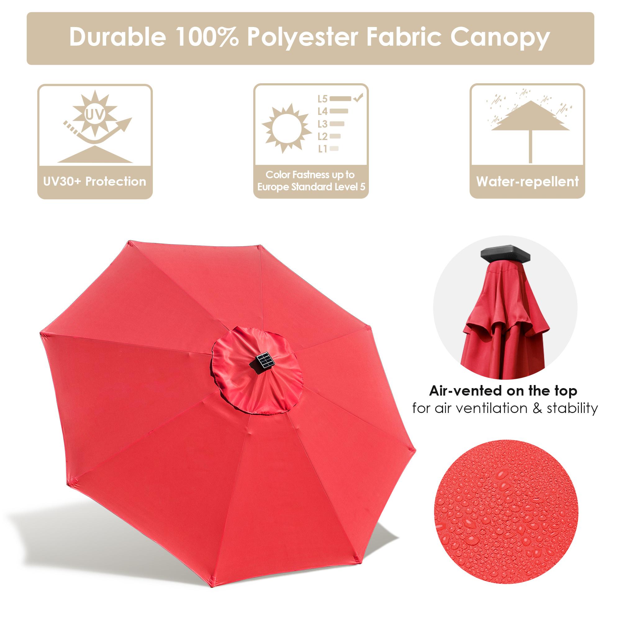 thumbnail 57 - 9' Patio Outdoor Umbrella Solar LED 8 Rib Garden Parasol Yard Deck Table Shade