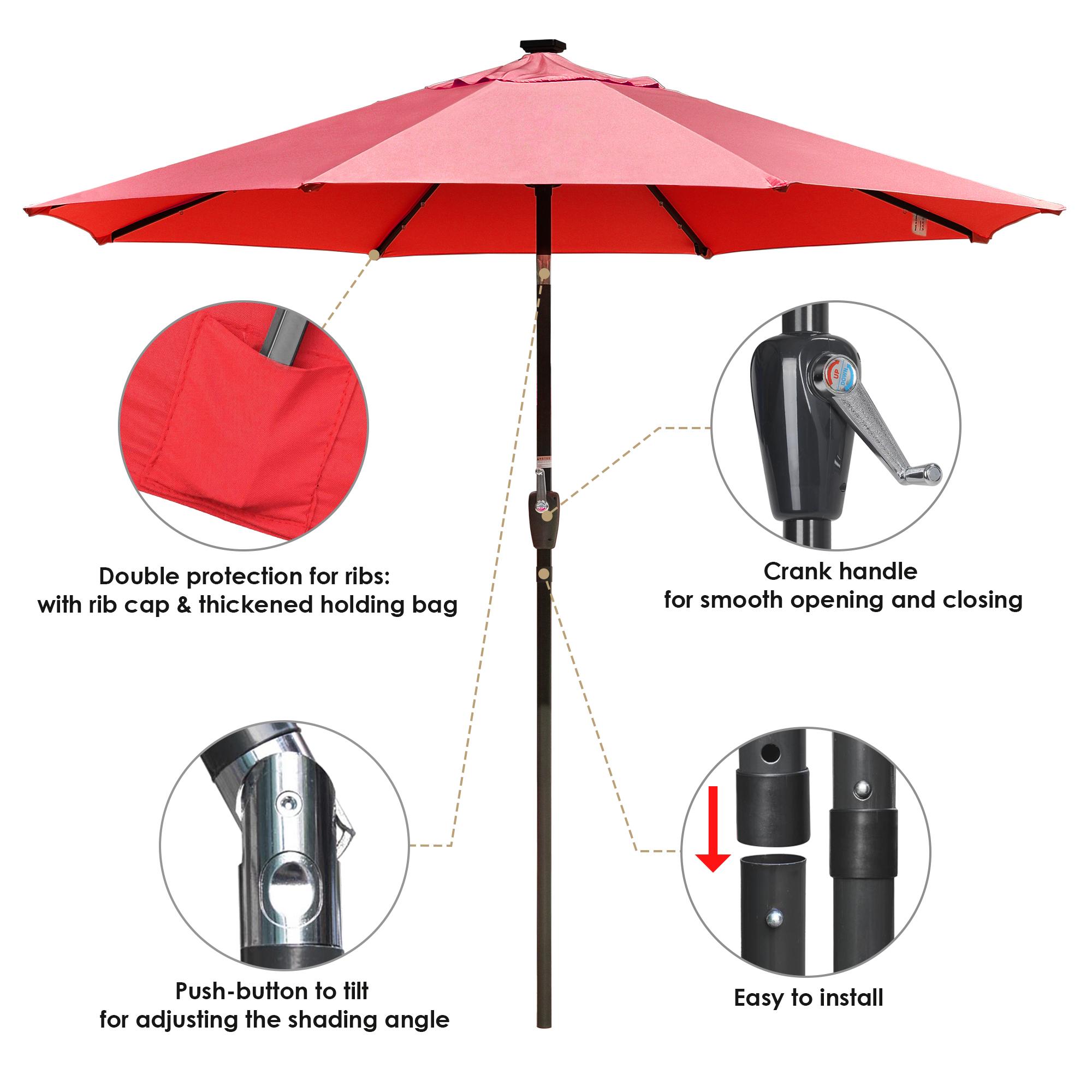 thumbnail 58 - 9' Patio Outdoor Umbrella Solar LED 8 Rib Garden Parasol Yard Deck Table Shade
