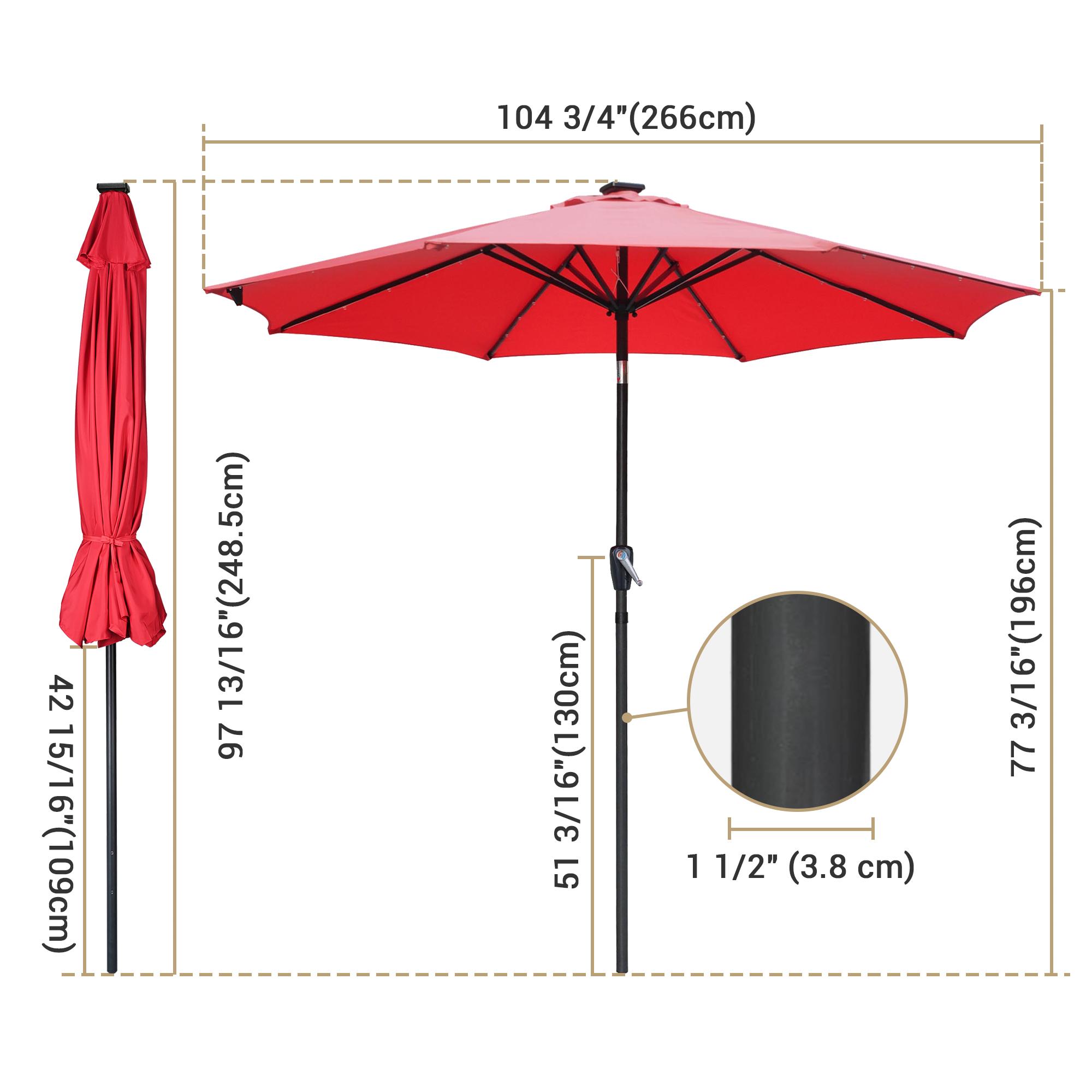 thumbnail 60 - 9' Patio Outdoor Umbrella Solar LED 8 Rib Garden Parasol Yard Deck Table Shade