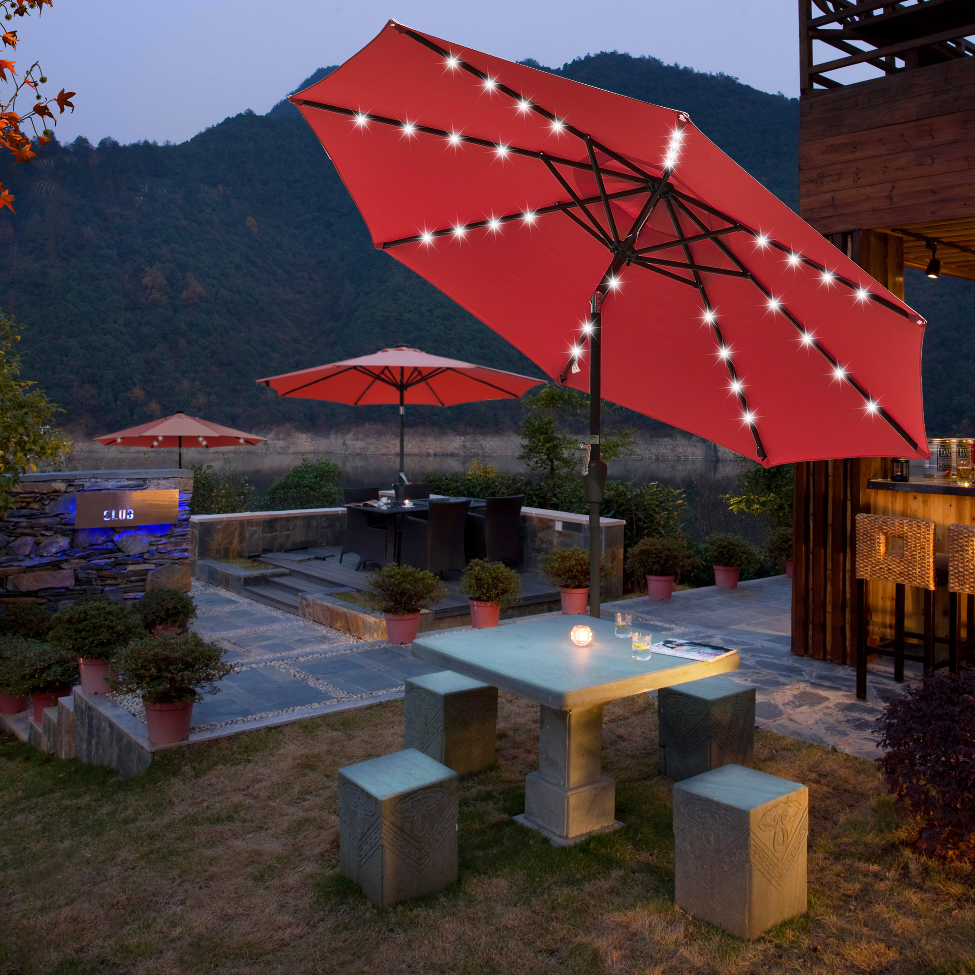 thumbnail 54 - 9' Patio Outdoor Umbrella Solar LED 8 Rib Garden Parasol Yard Deck Table Shade