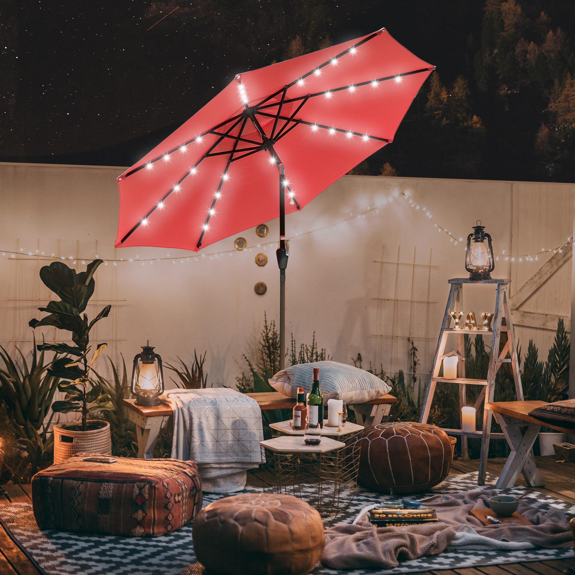 thumbnail 61 - 9' Patio Outdoor Umbrella Solar LED 8 Rib Garden Parasol Yard Deck Table Shade