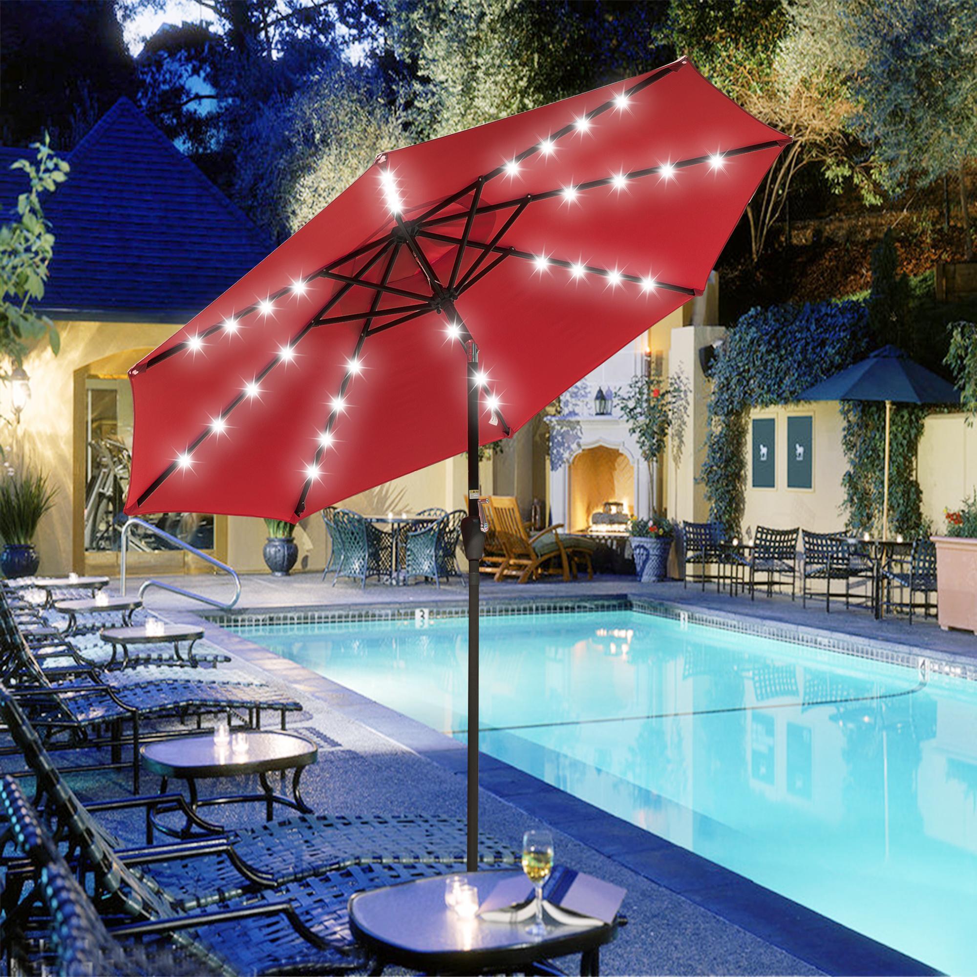 thumbnail 62 - 9' Patio Outdoor Umbrella Solar LED 8 Rib Garden Parasol Yard Deck Table Shade