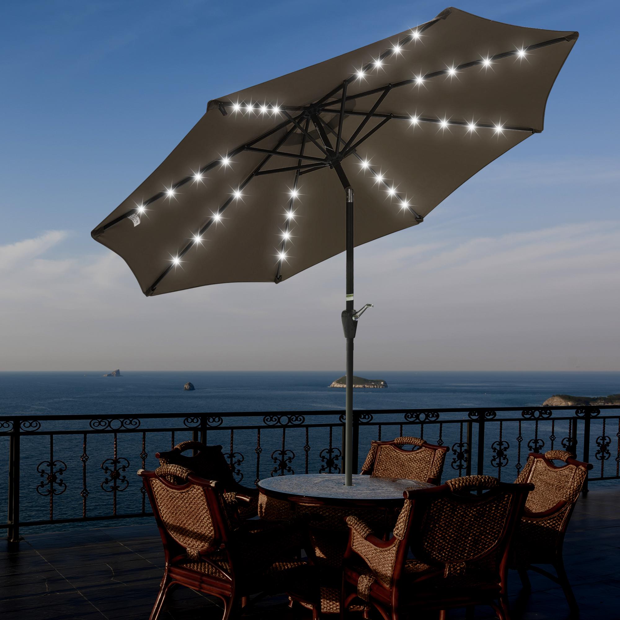 thumbnail 44 - 9' Patio Outdoor Umbrella Solar LED 8 Rib Garden Parasol Yard Deck Table Shade